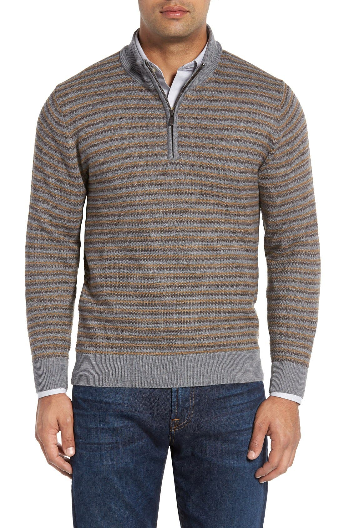 'Douglas Range' Quarter Zip Stripe Wool Blend Sweater,                             Main thumbnail 1, color,                             Brown/ Multi