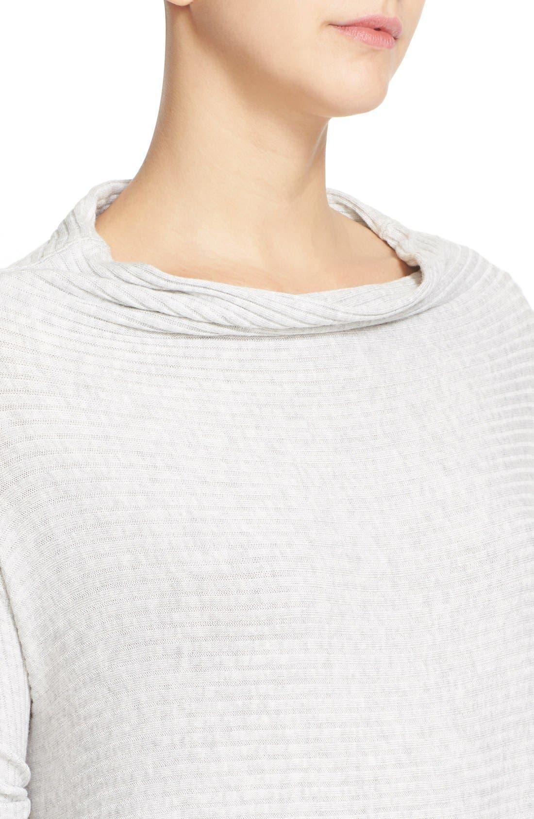Lover Rib Split Back Pullover,                             Alternate thumbnail 4, color,                             Grey