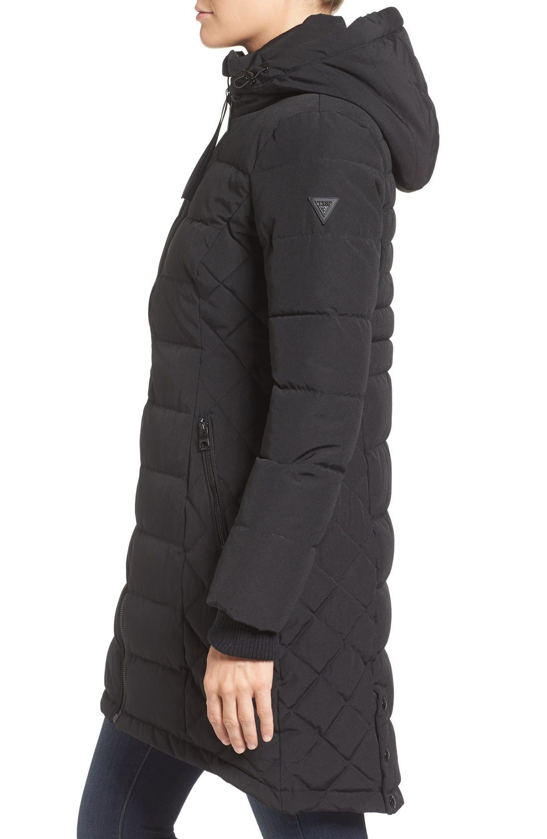 Quilted Hooded Puffer Coat,                             Alternate thumbnail 3, color,                             Black