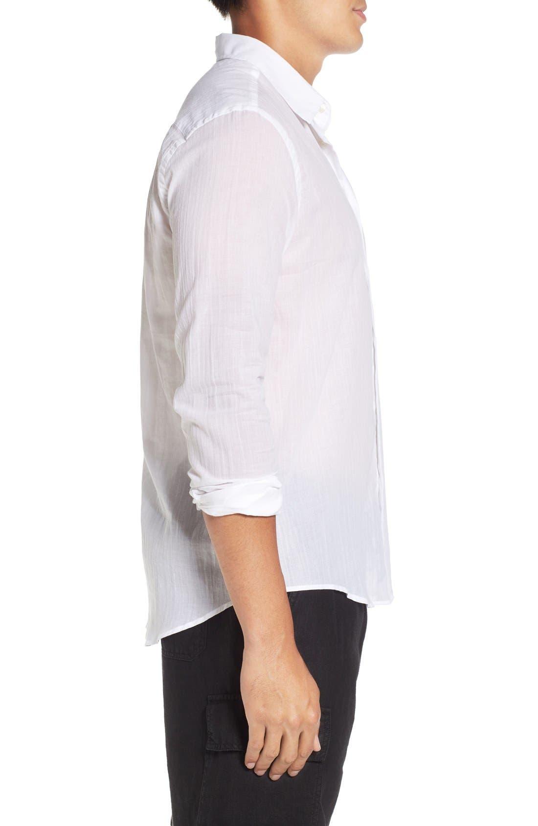Cotton Voile Sport Shirt,                             Alternate thumbnail 4, color,                             White