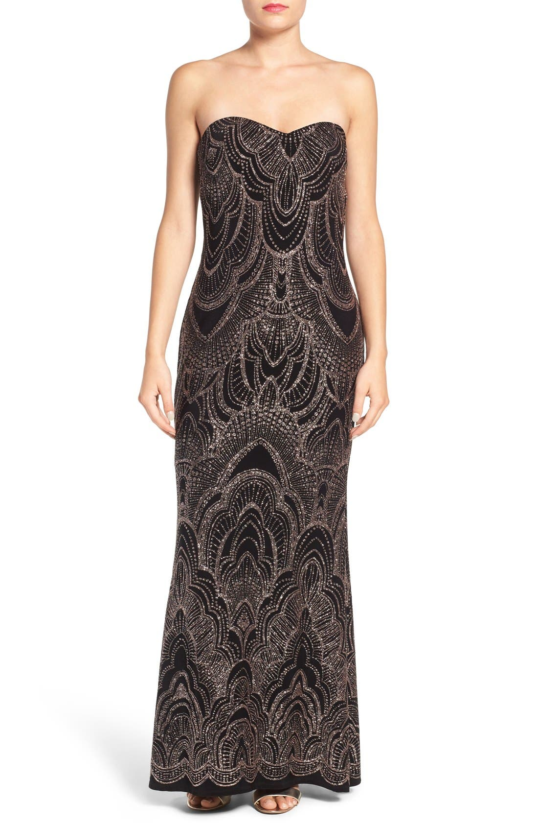 Main Image - Jump Apparel Glitter Print Strapless Gown