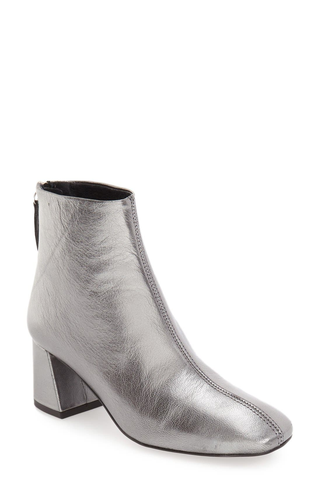 'Maggie' Flared Heel Bootie,                             Main thumbnail 1, color,                             Silver