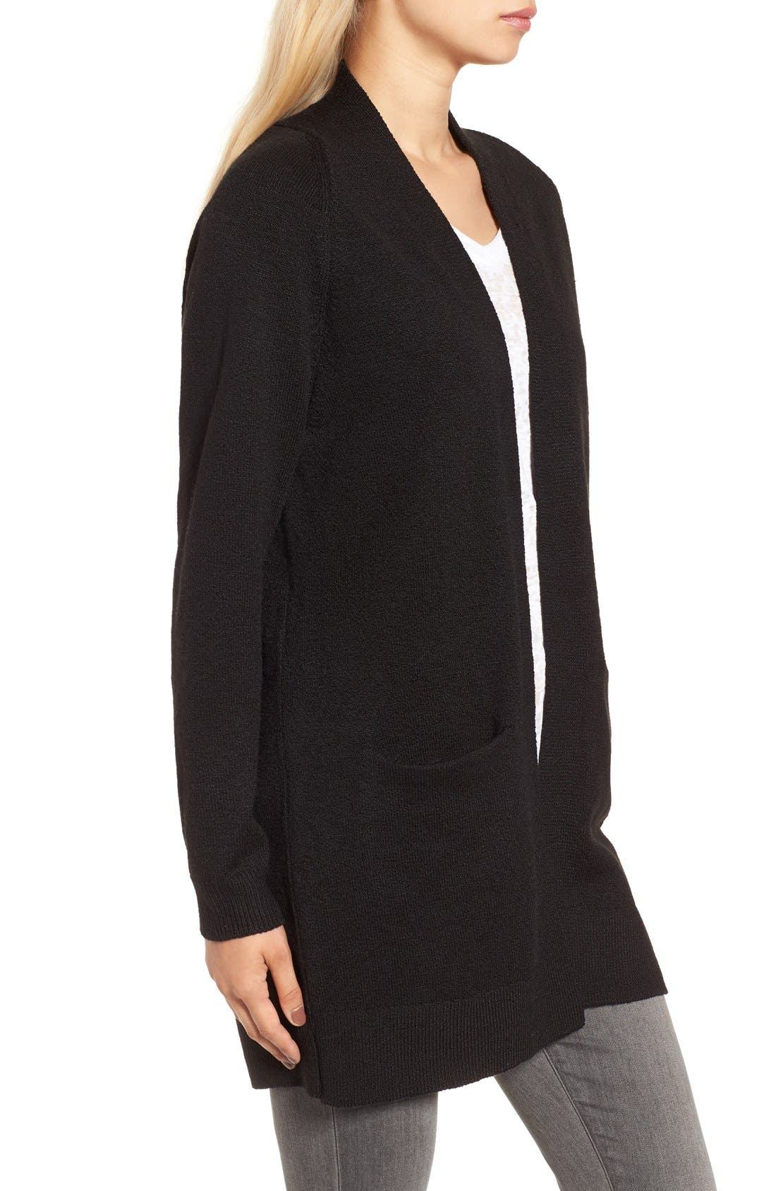Open Front Cardigan,                             Alternate thumbnail 3, color,                             Black