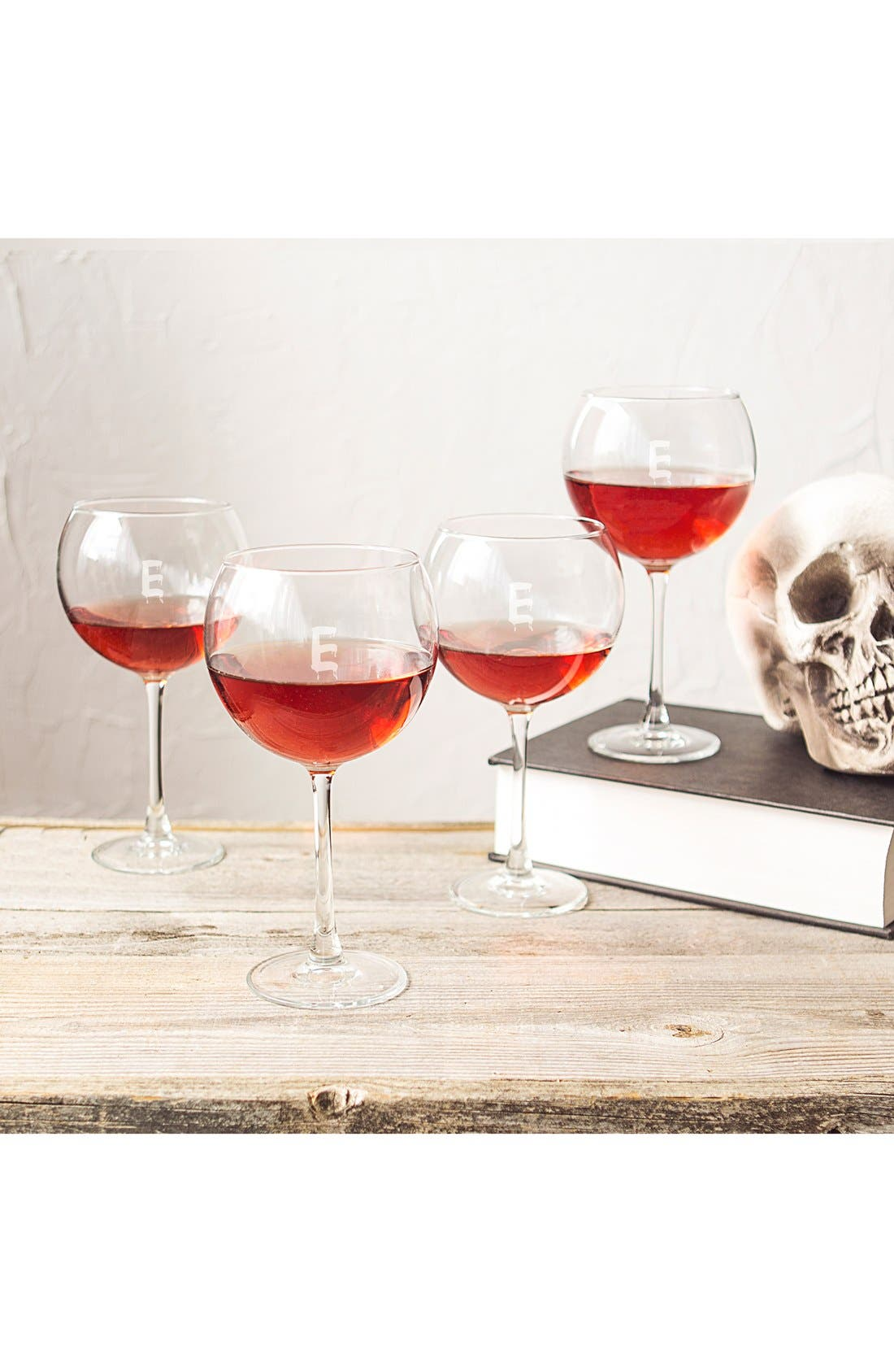 Alternate Image 3  - Cathy's Concepts Spooky Monogram Set of 4 Red Wine Glasses
