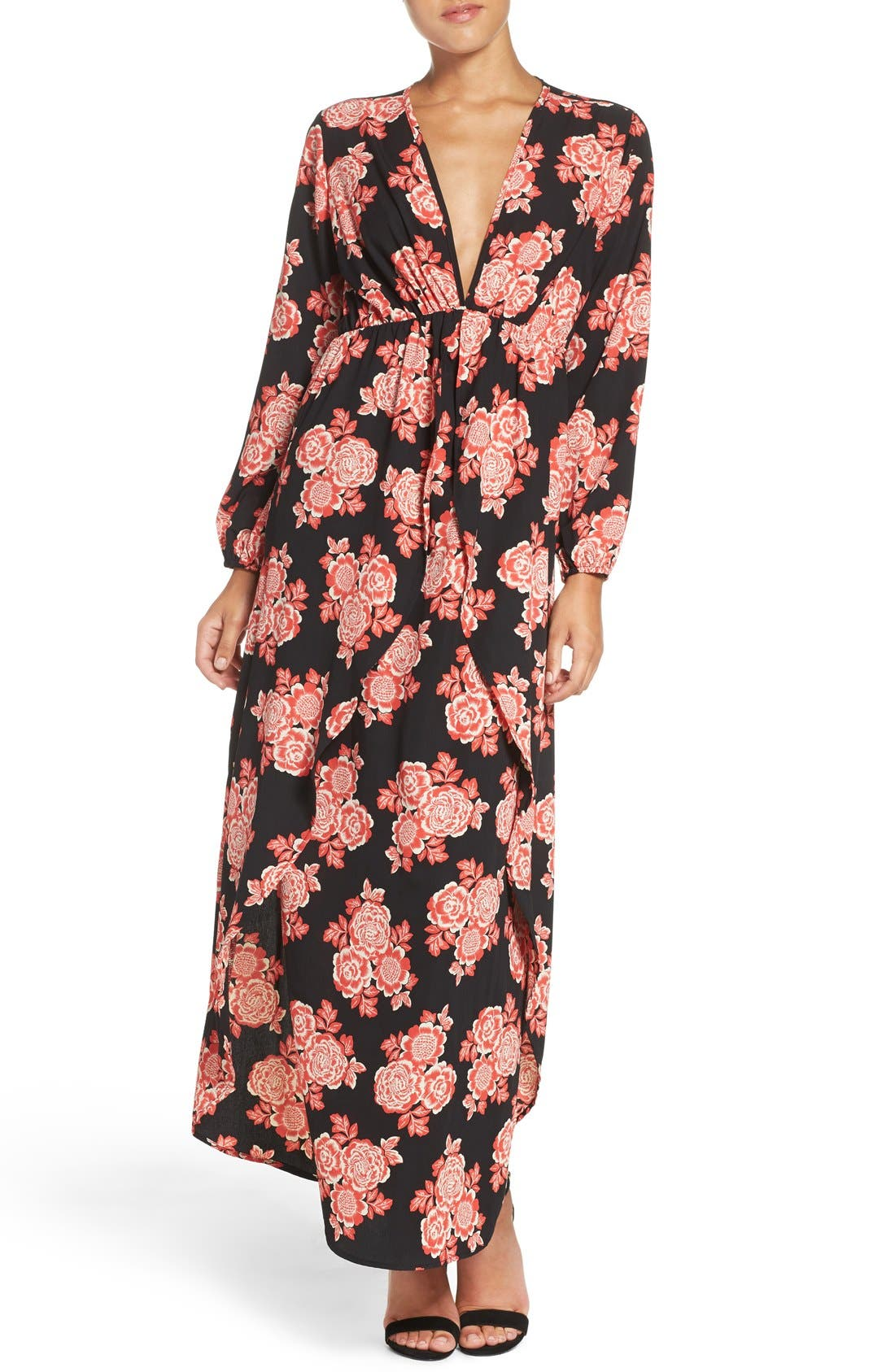 Floral Maxi Dress,                         Main,                         color, Red Blossom