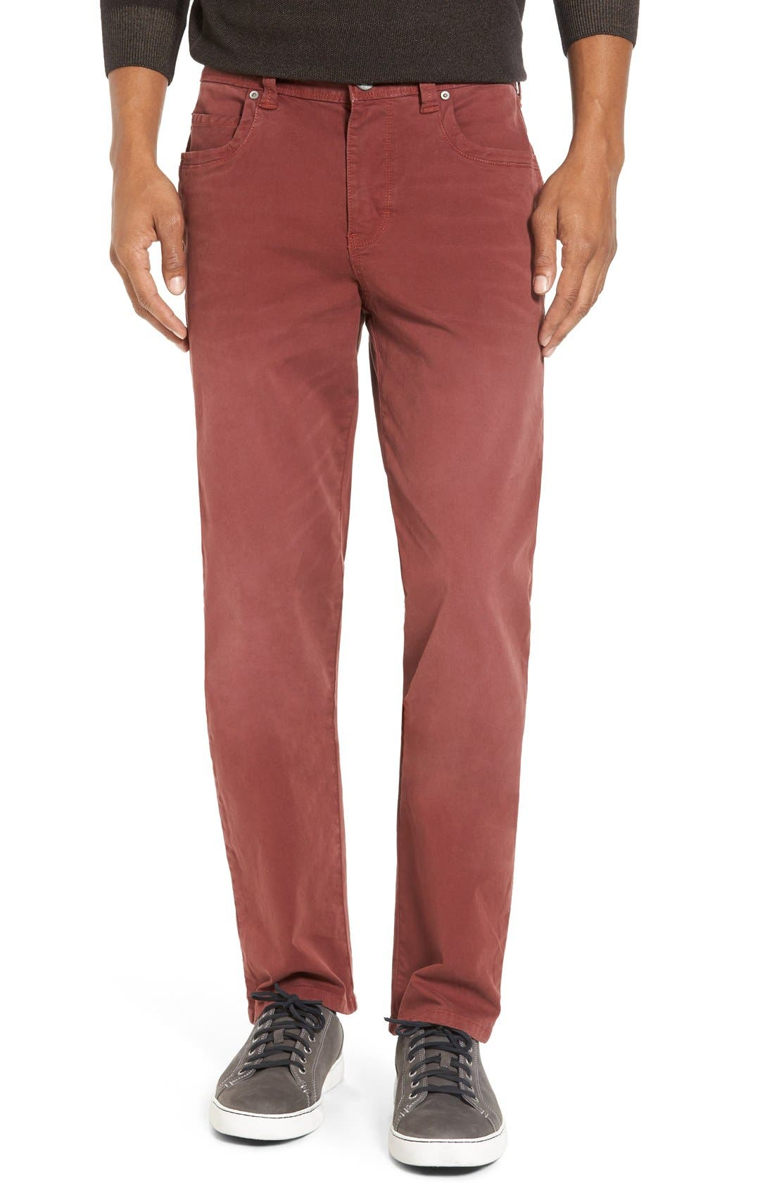 'Santiago' Washed Twill Pants,                         Main,                         color, Maroon