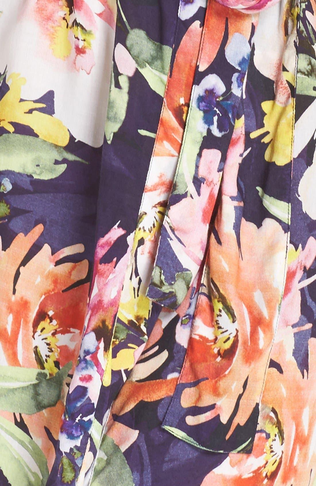 Floral Print Kimono Robe,                             Alternate thumbnail 5, color,                             Zephyr