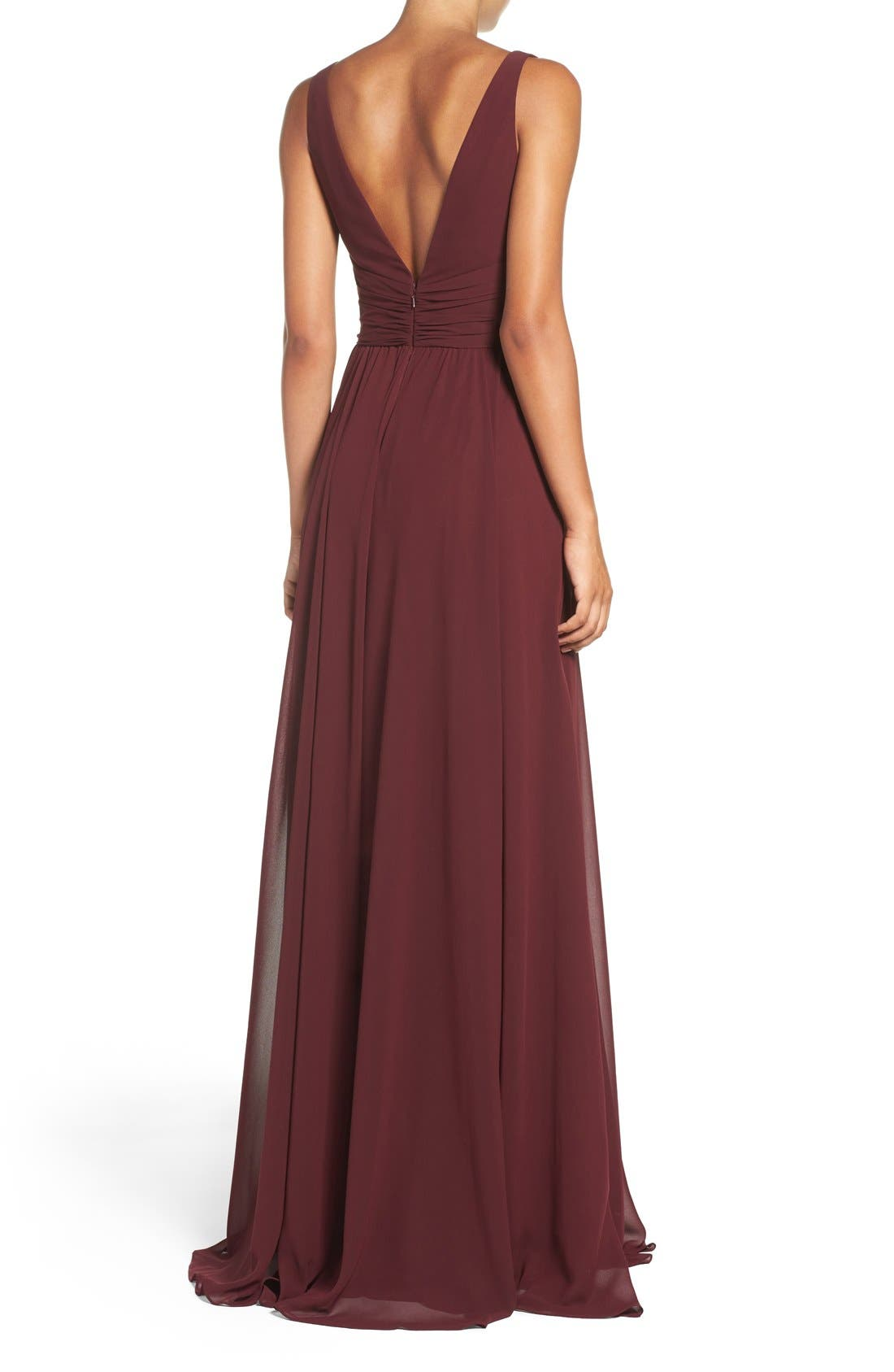 'Justine' Double V-Neck Chiffon Gown,                             Alternate thumbnail 2, color,                             Ruby