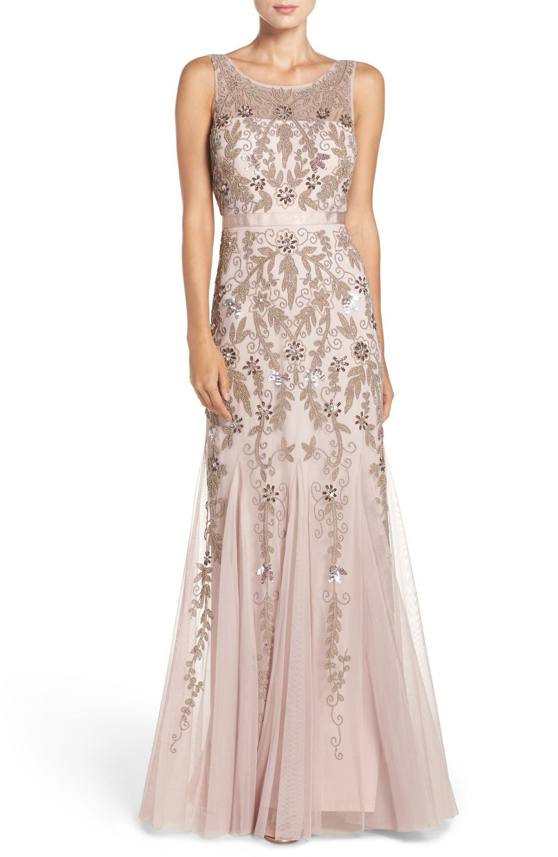 Alternate Image 1 Selected - Adrianna Papell Embellished Mesh Mermaid Gown (Regular & Petite)