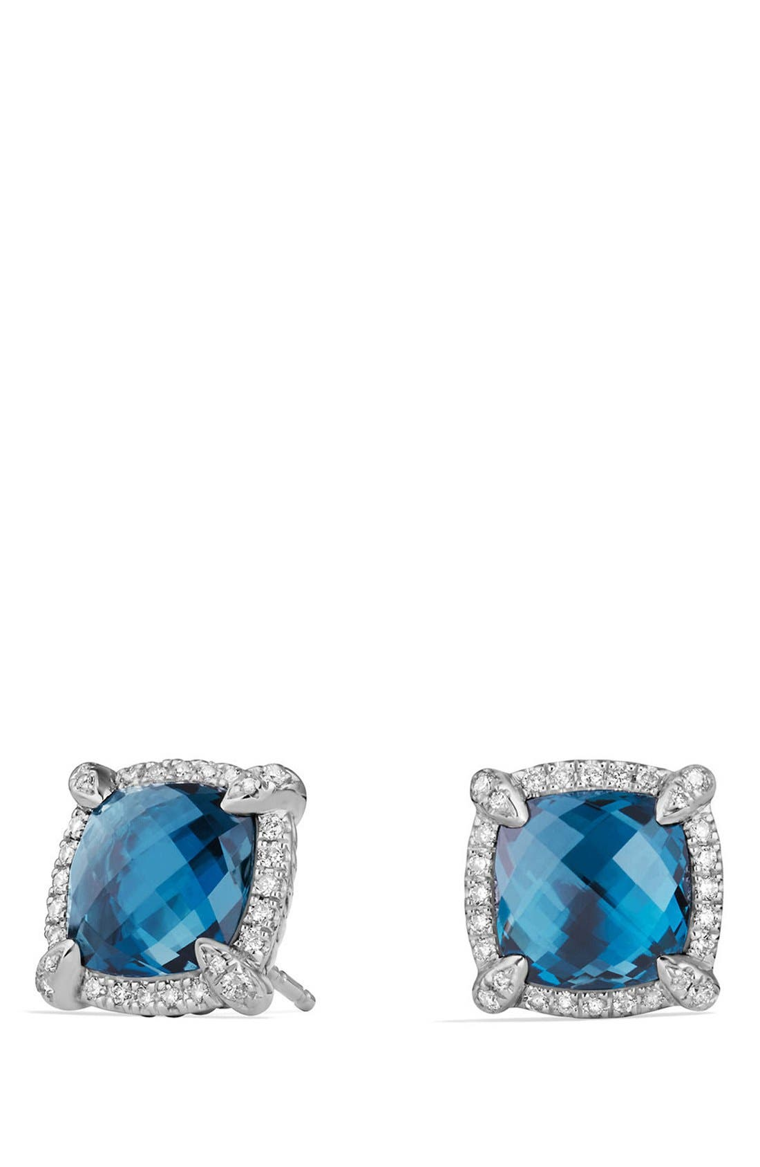 'Châtelaine' Pavé Bezel Stud Earrings with Diamonds,                             Main thumbnail 1, color,                             Blue Topaz