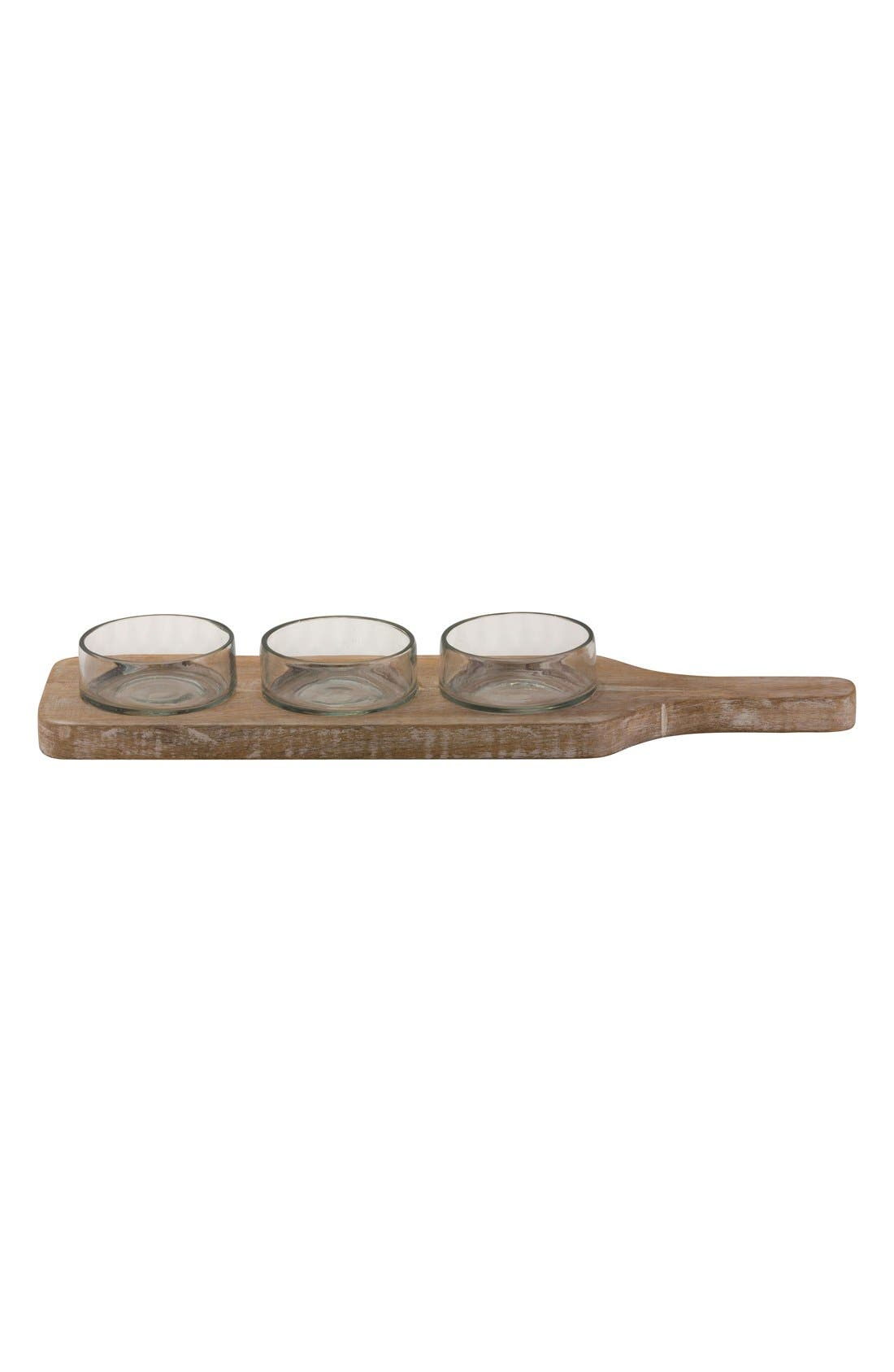 10 Strawberry Street Wooden Condiment Tray & Glass Bowls (4-Piece)