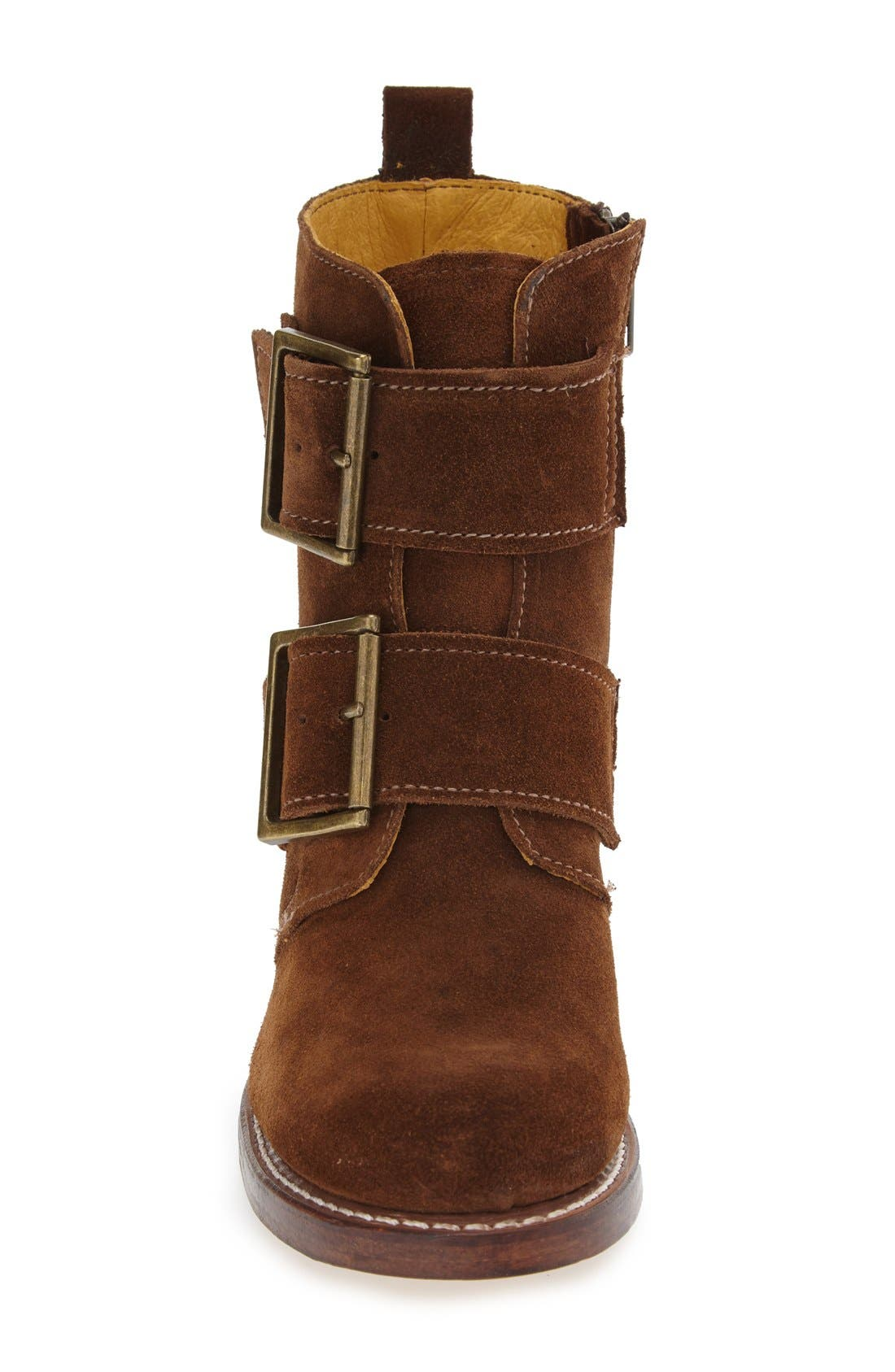 'Sabrina' Double Buckle Boot,                             Alternate thumbnail 3, color,                             Wood Oiled Suede