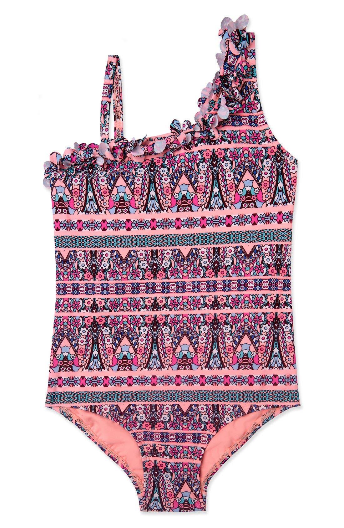 'Princess' One-Piece Swimsuit,                         Main,                         color, Pink