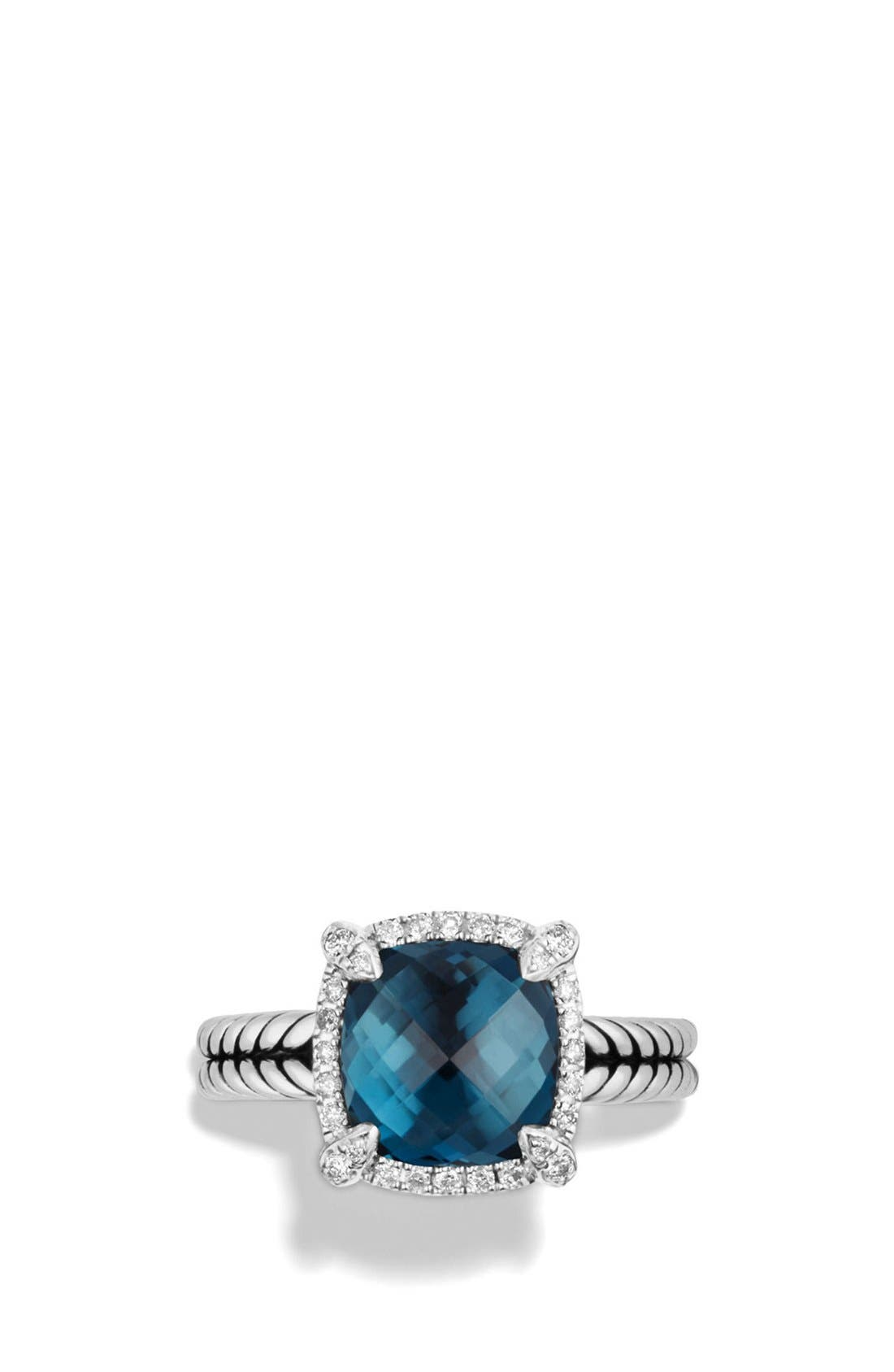 'Châtelaine' Small Pavé Bezel Ring with Diamonds,                             Alternate thumbnail 3, color,                             Blue Topaz