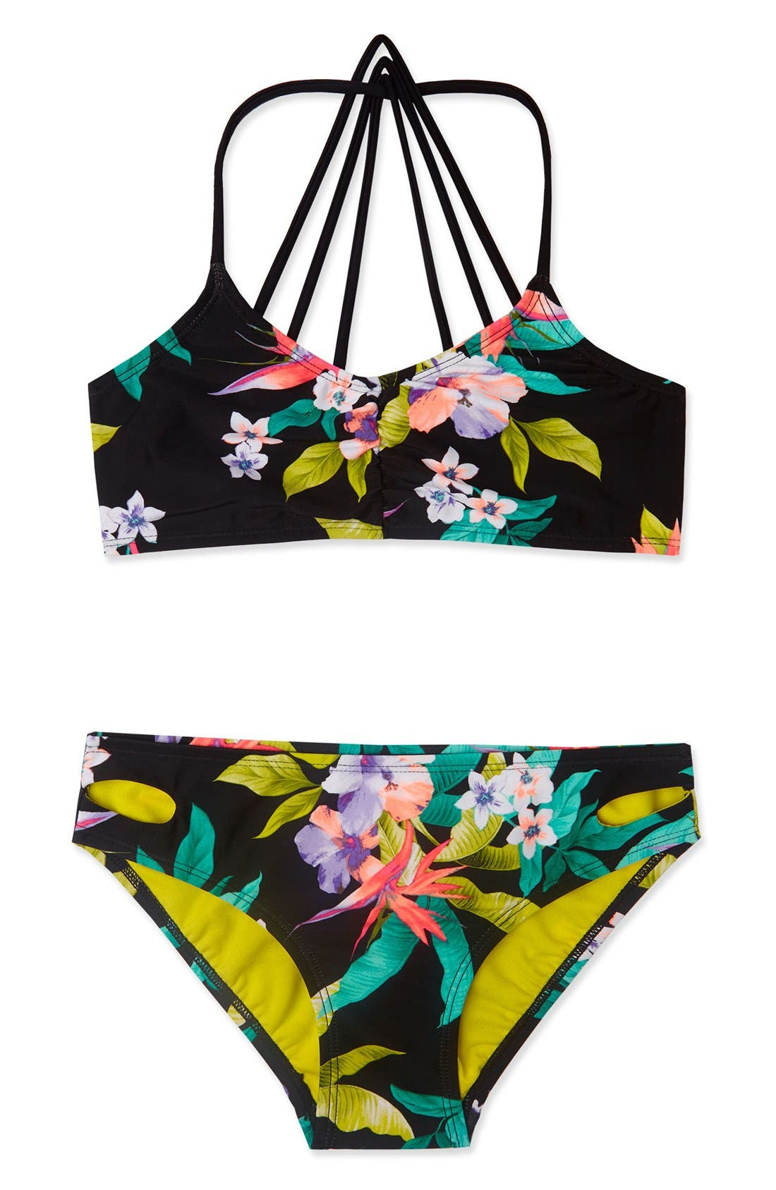 'Paradiso' Print Two-Piece Swimsuit,                         Main,                         color, Black Multi