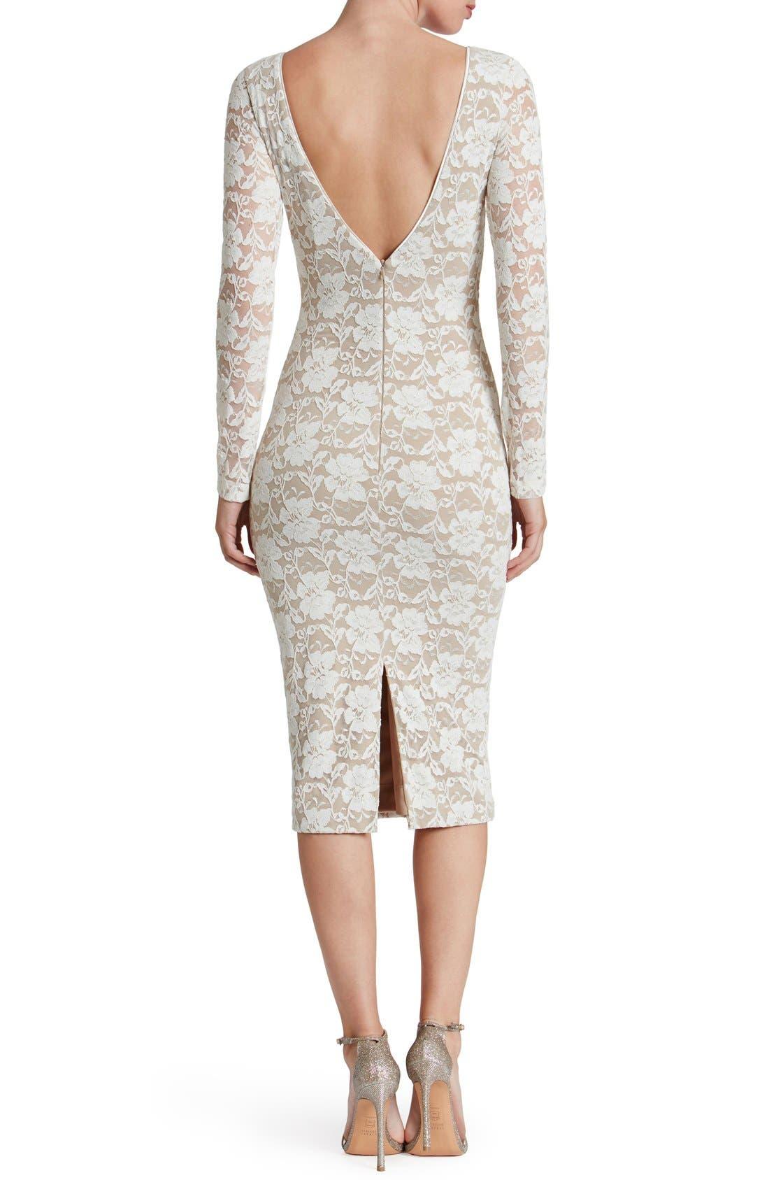 Alternate Image 2  - Dress the Population Emery Lace Body-Con Midi Dress