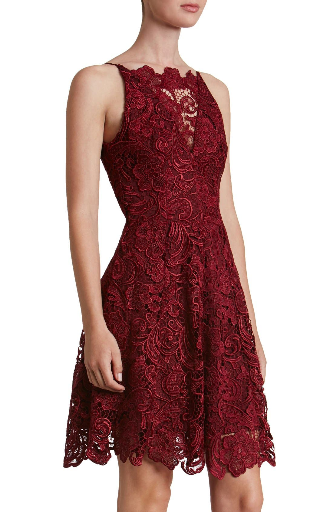 'Hayden' Lace Fit & Flare Dress,                         Main,                         color, Berry