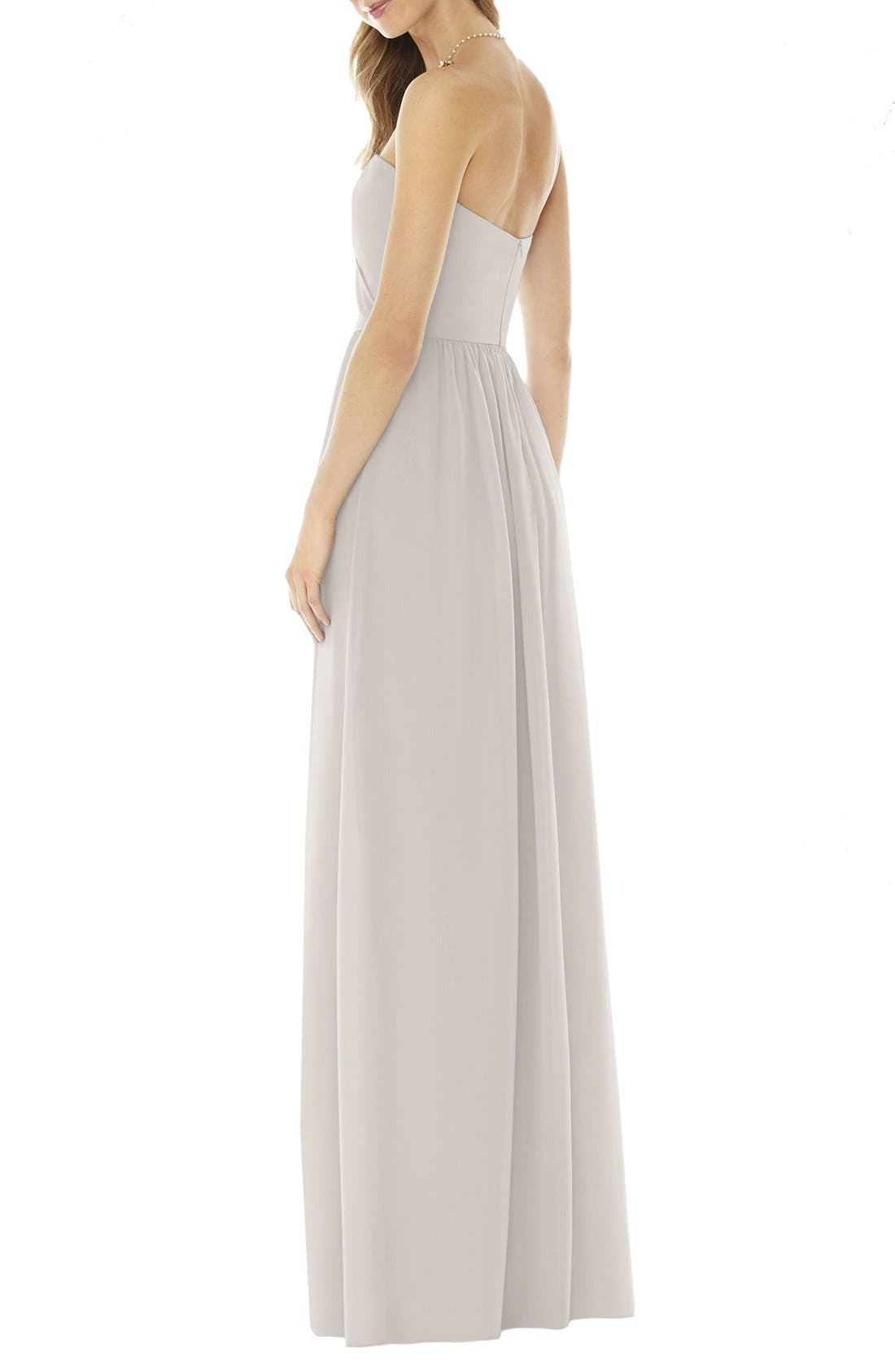 Strapless Georgette Gown,                             Alternate thumbnail 2, color,                             Oyster
