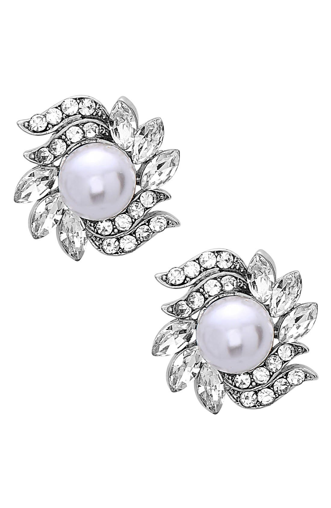 Crystal & Faux Pearl Floral Stud Earrings,                         Main,                         color, Silver