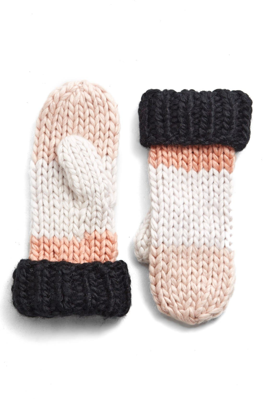 Alternate Image 1 Selected - kate spade new york hand knit colorblock mittens