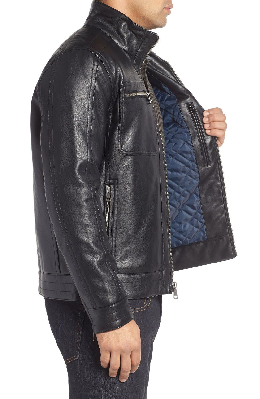 Faux Leather Zip Jacket,                             Alternate thumbnail 3, color,                             Black