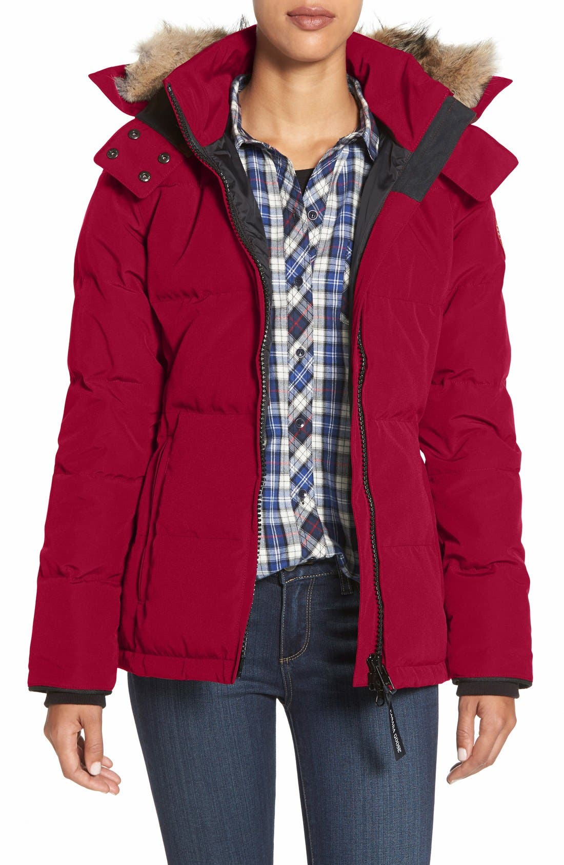'Chelsea' Slim Fit Down Parka with Genuine Coyote Fur Trim,                             Main thumbnail 1, color,                             Red
