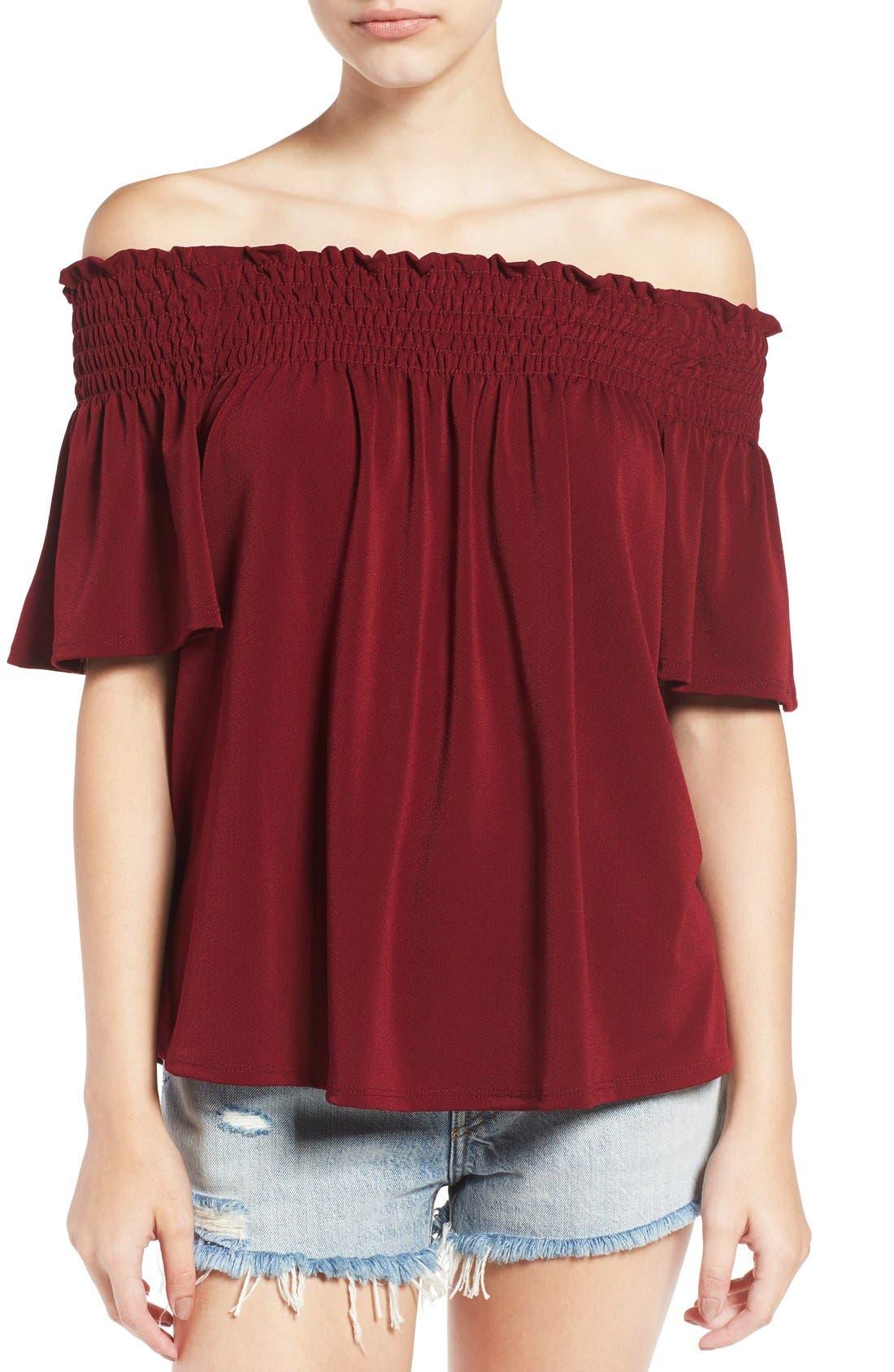 Off the Shoulder Top,                         Main,                         color, Burgundy Stem