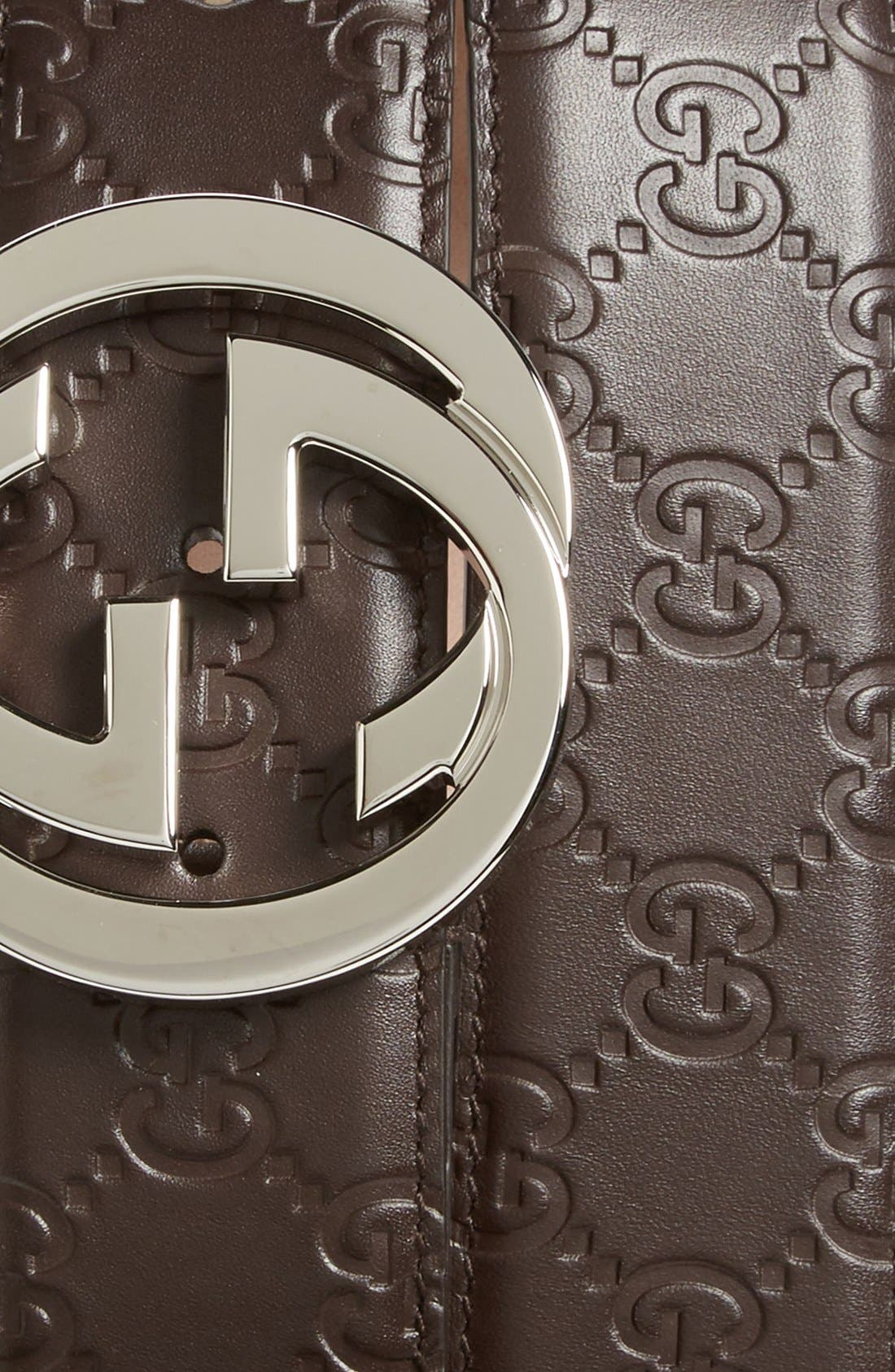 Alternate Image 2  - Gucci Logo Embossed Leather Belt