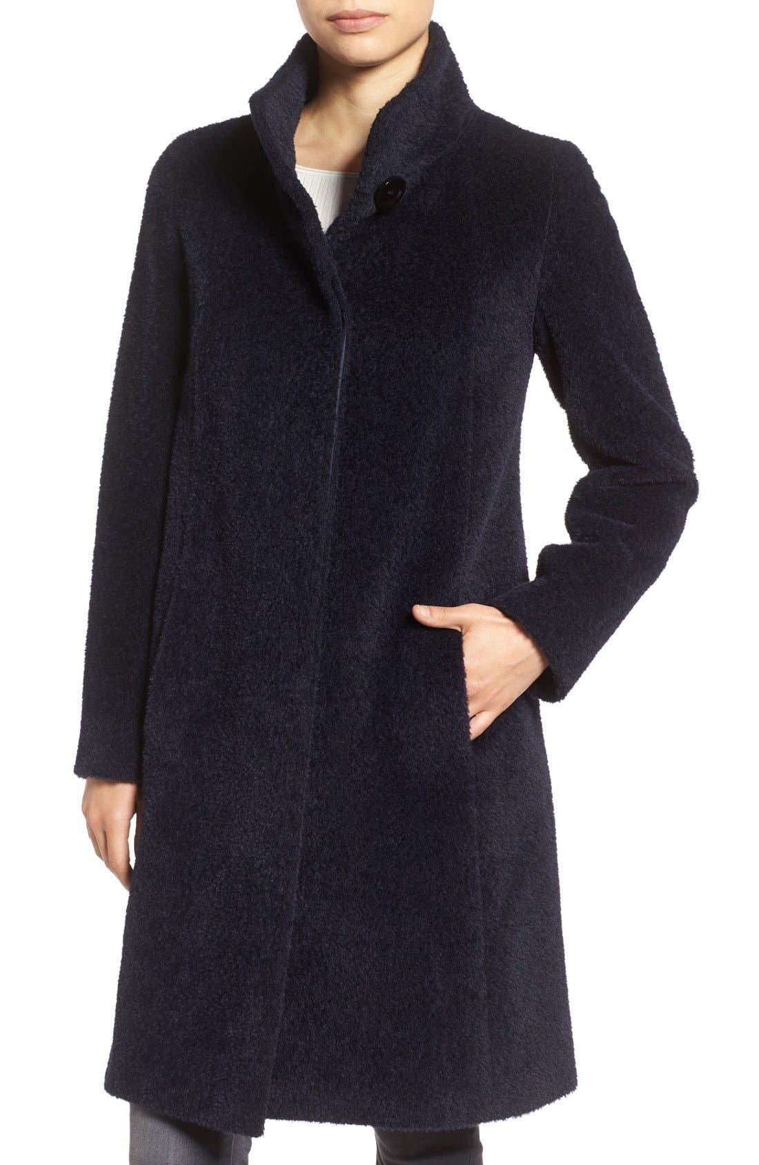 Stand Collar Wool & Alpaca Long A-Line Coat,                         Main,                         color, Navy
