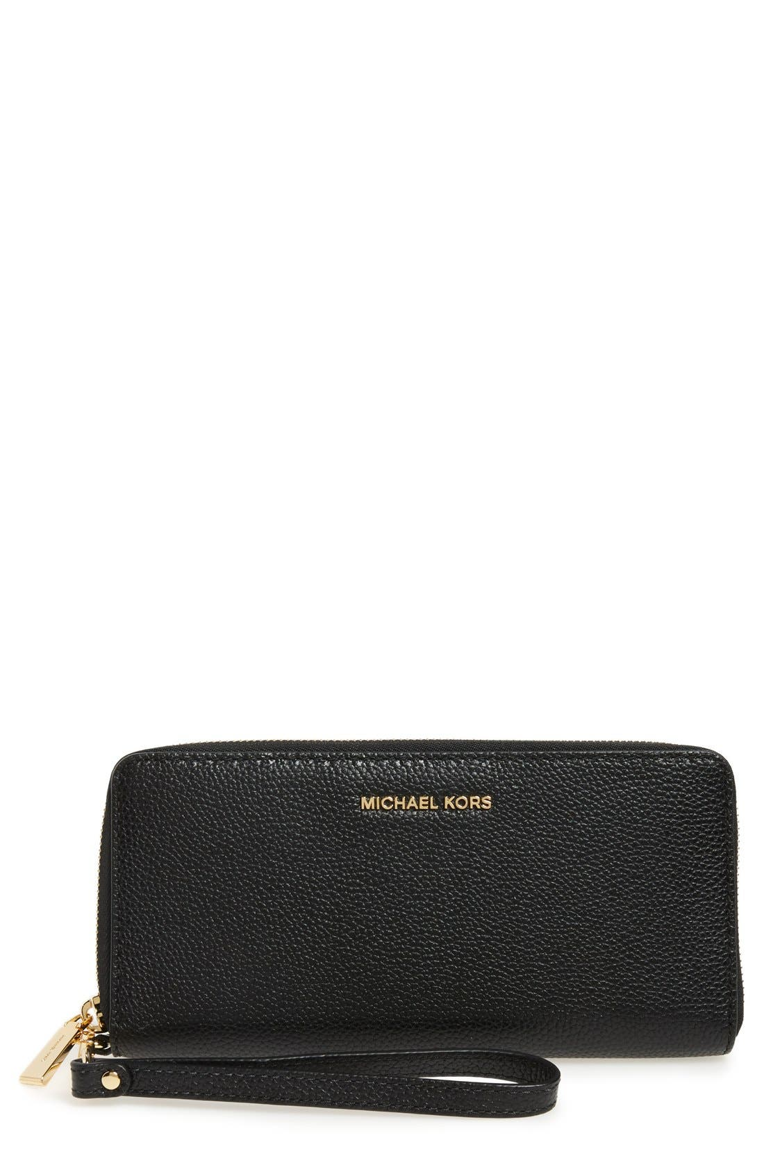 'Mercer' Leather Continental Wallet,                         Main,                         color, Black/ Gold