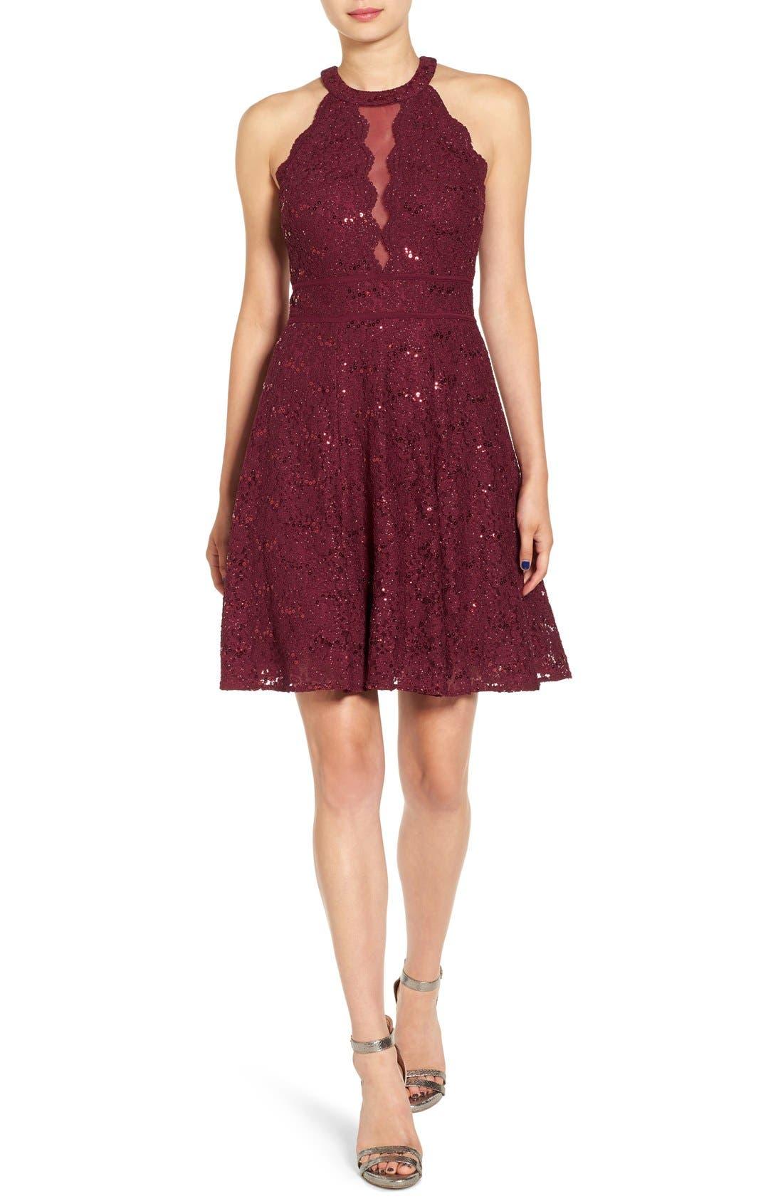 Embellished High Neck Skater Dress,                         Main,                         color, Merlot