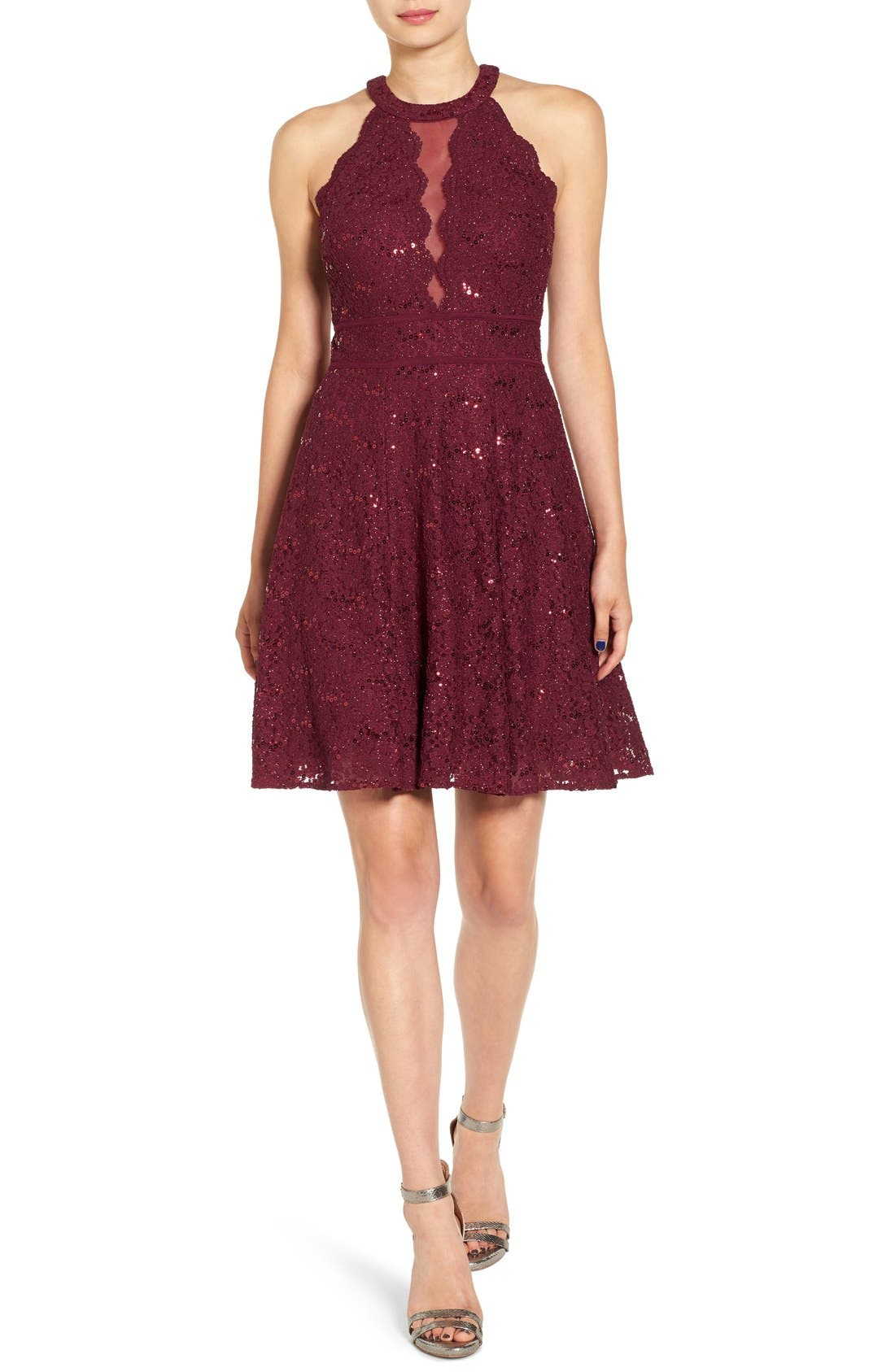 Morgan & Co. Embellished High Neck Skater Dress