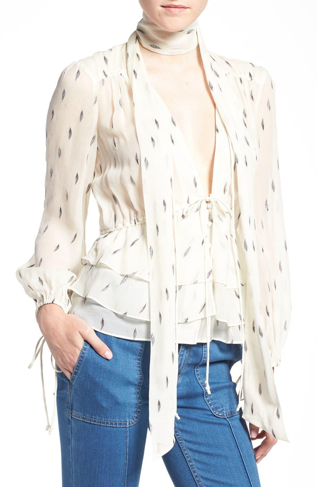 Main Image - Olivia Palermo + Chelsea28 Tie Neck Peplum Silk Top