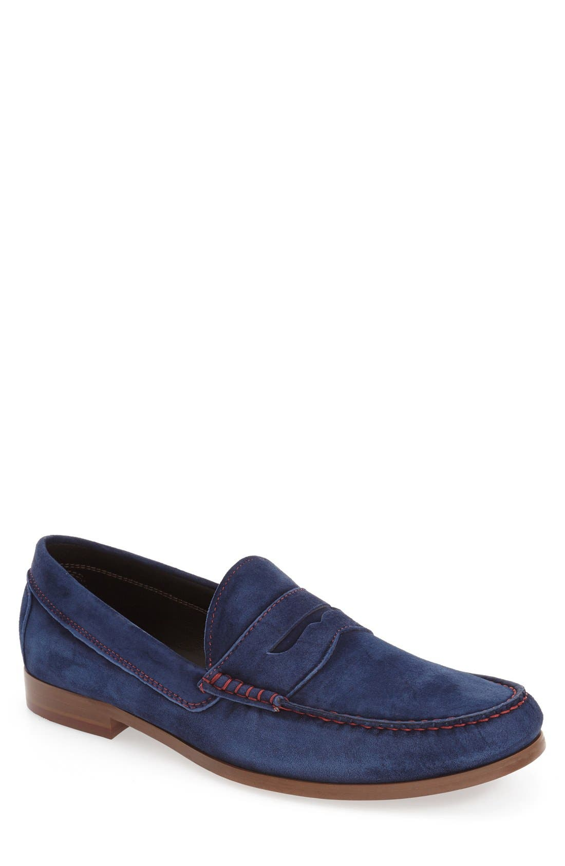 Nicola Penny Loafer,                             Main thumbnail 1, color,                             Navy Suede