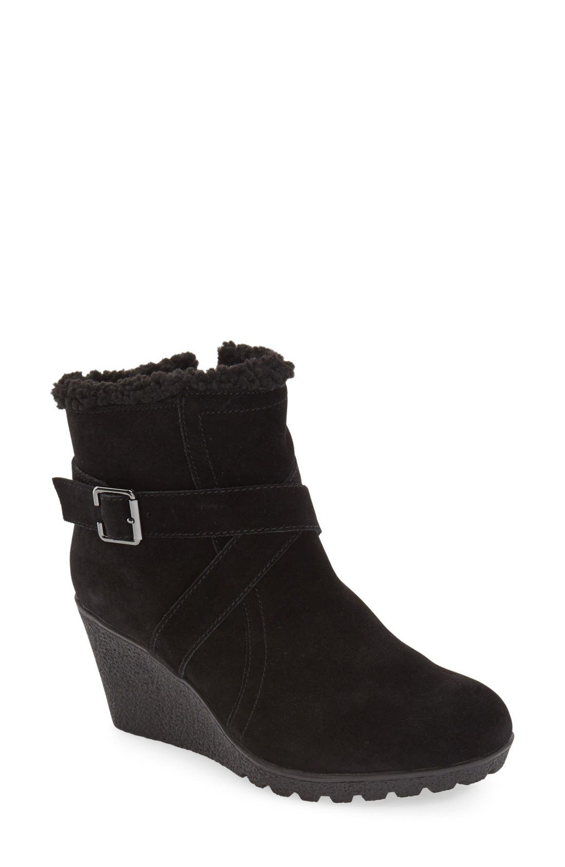 Hush Puppies® 'Amber Miles IIV' Faux Shearling Lined Waterproof Wedge Bootie (Women)