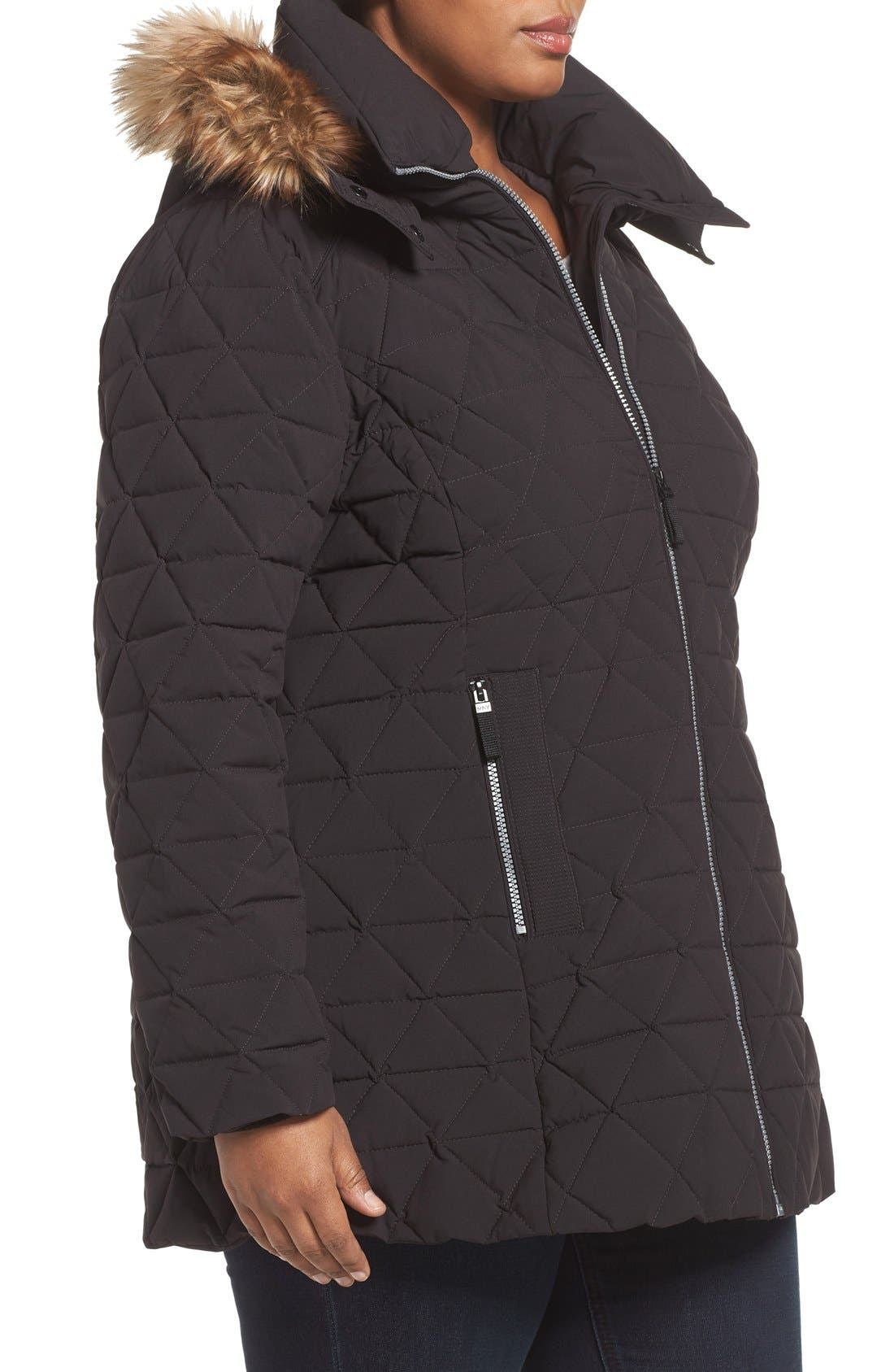 Alternate Image 3  - Andrew Marc Down Jacket with Faux Fur Trim Hood (Plus Size)