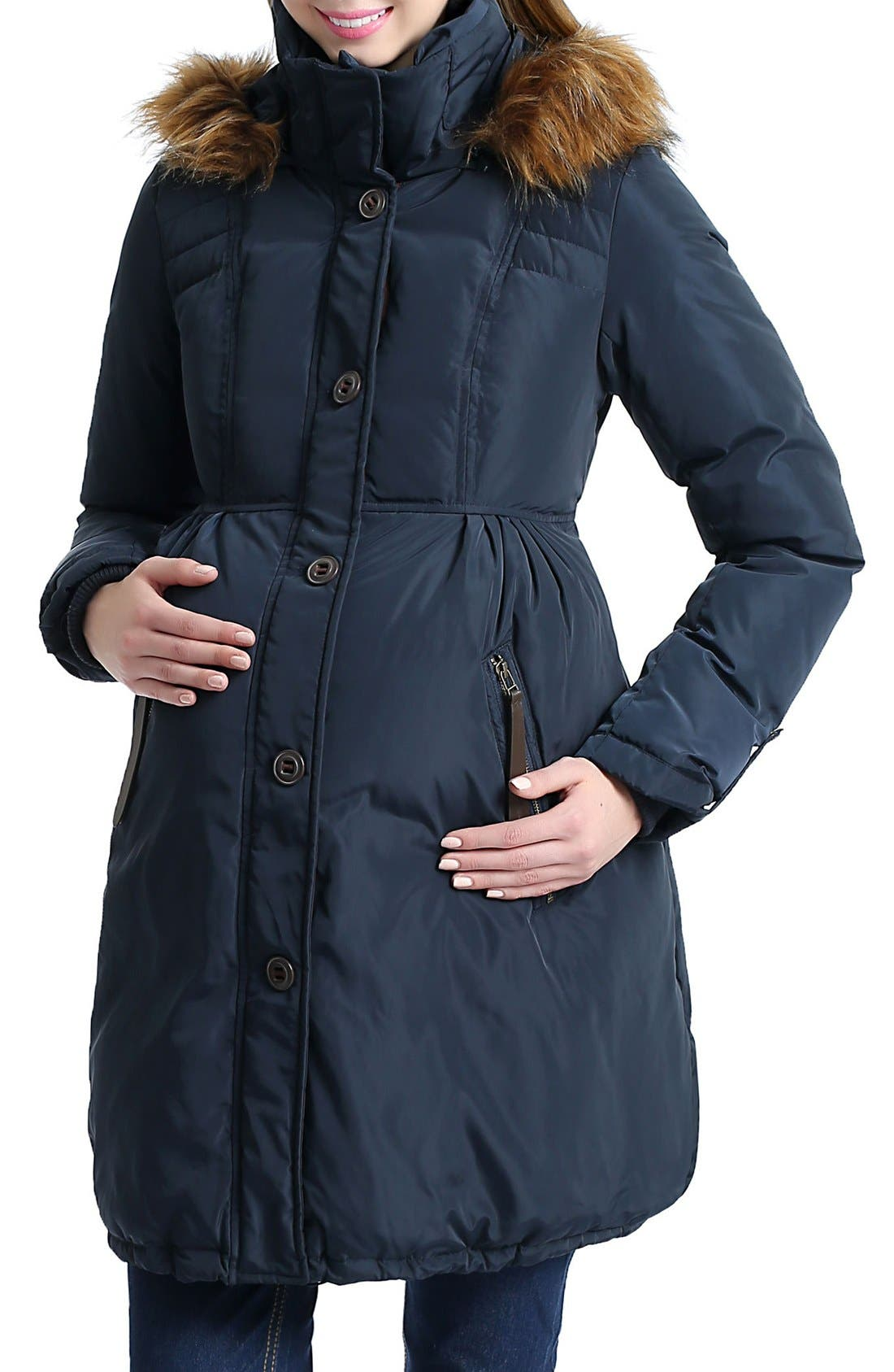 Lizzy Water Resistant Down Maternity Parka,                             Alternate thumbnail 4, color,                             Navy
