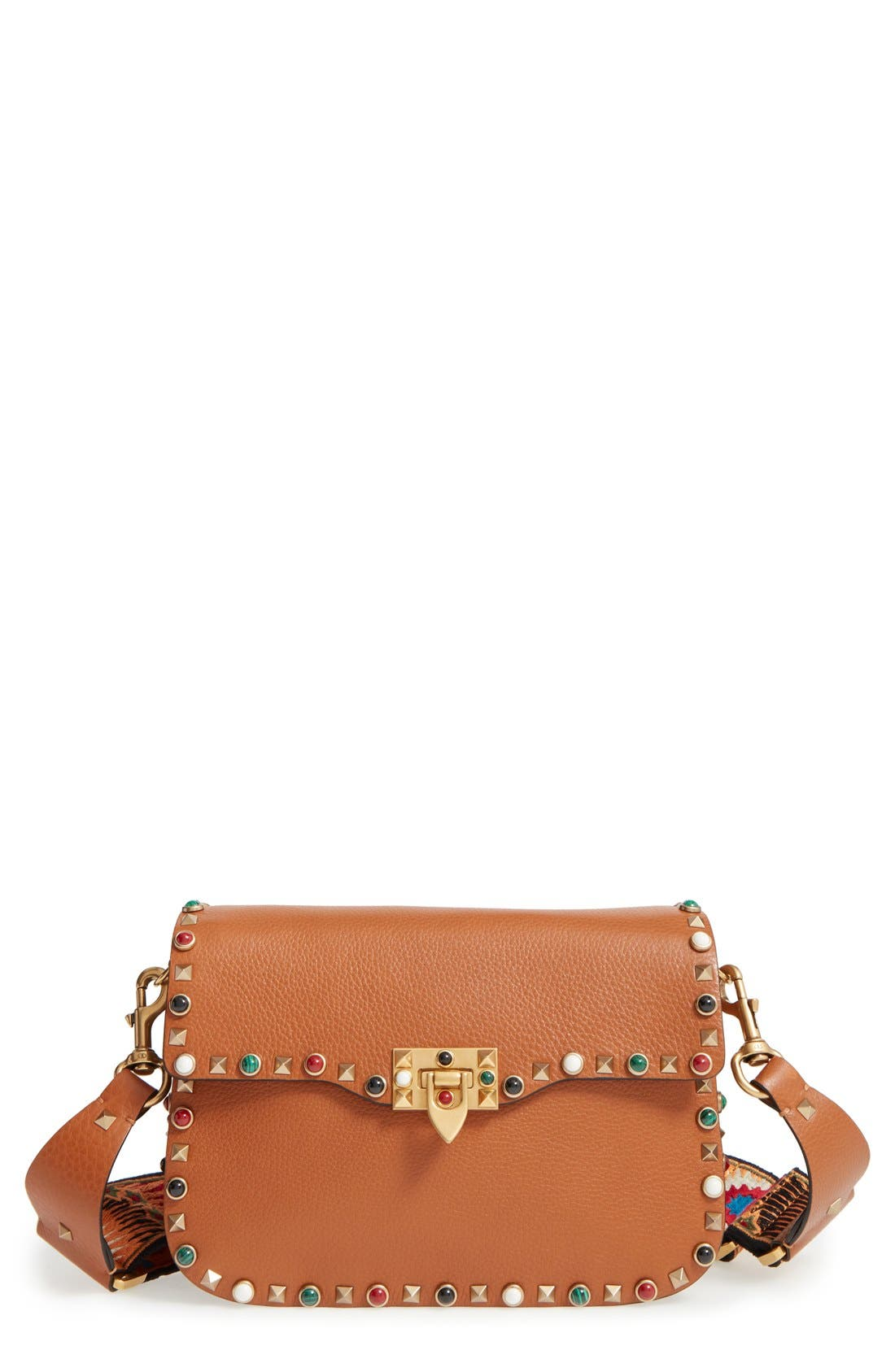 Valentino 'Rolling Rockstud' Guitar Strap Calfskin Leather Shoulder Bag