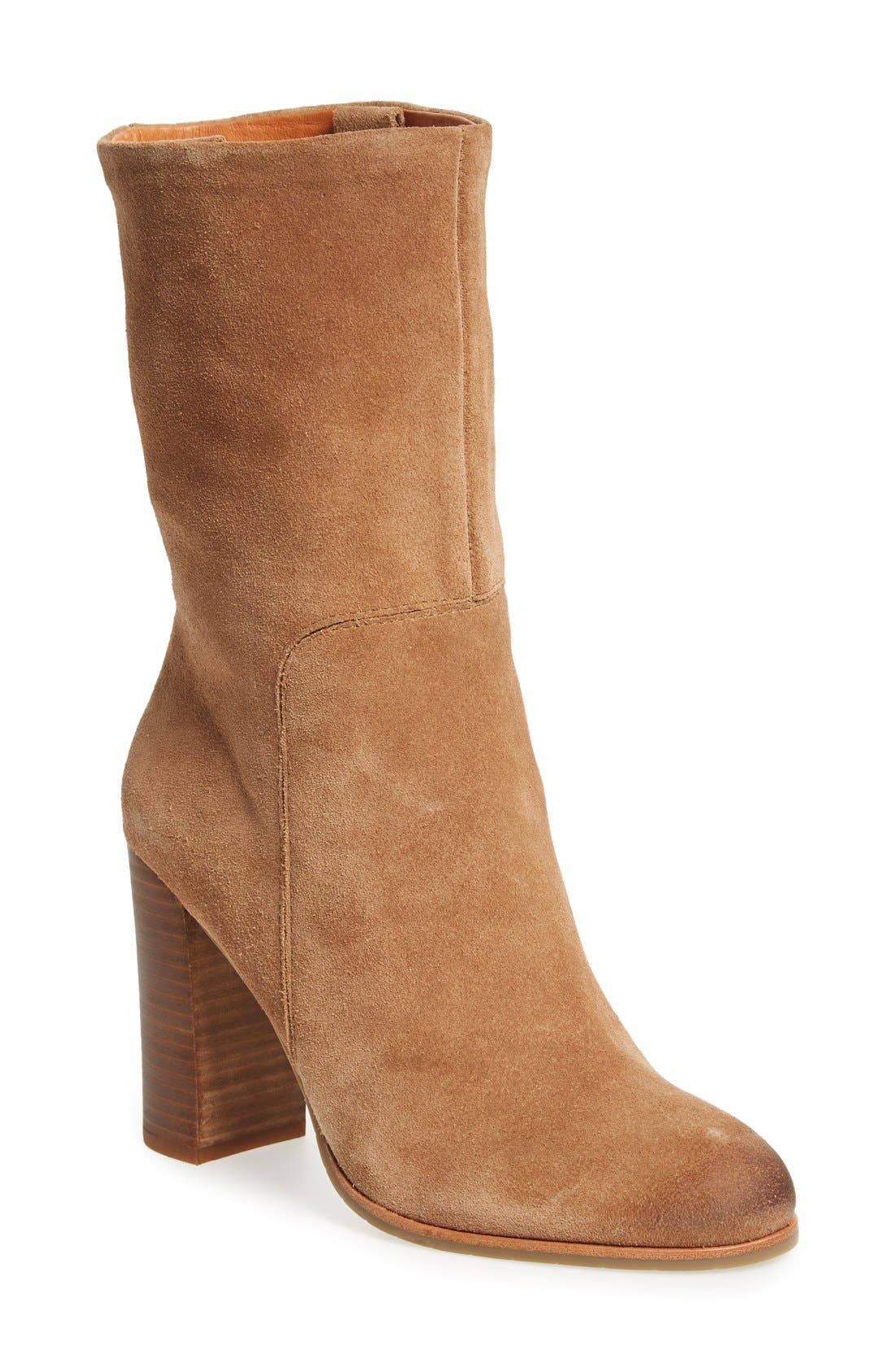 'Jenni' Round Toe Boot,                             Main thumbnail 1, color,                             Desert Suede