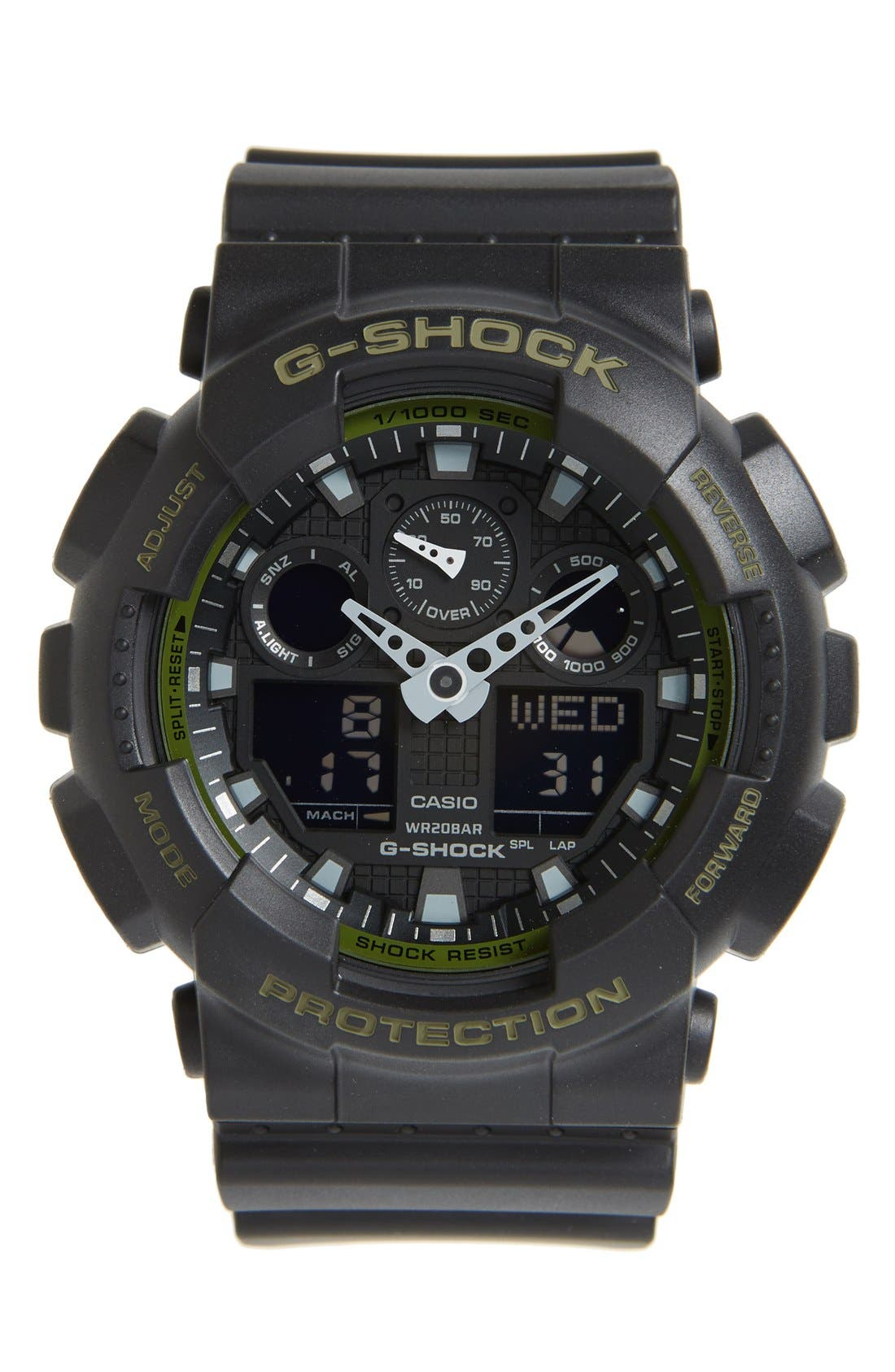 G-Shock 'Big Combi' Watch, 55mm x 51mm,                             Main thumbnail 1, color,                             Black/ Green