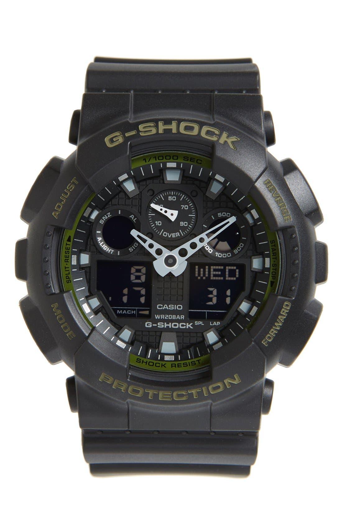 G-Shock 'Big Combi' Watch, 55mm x 51mm,                         Main,                         color, Black/ Green