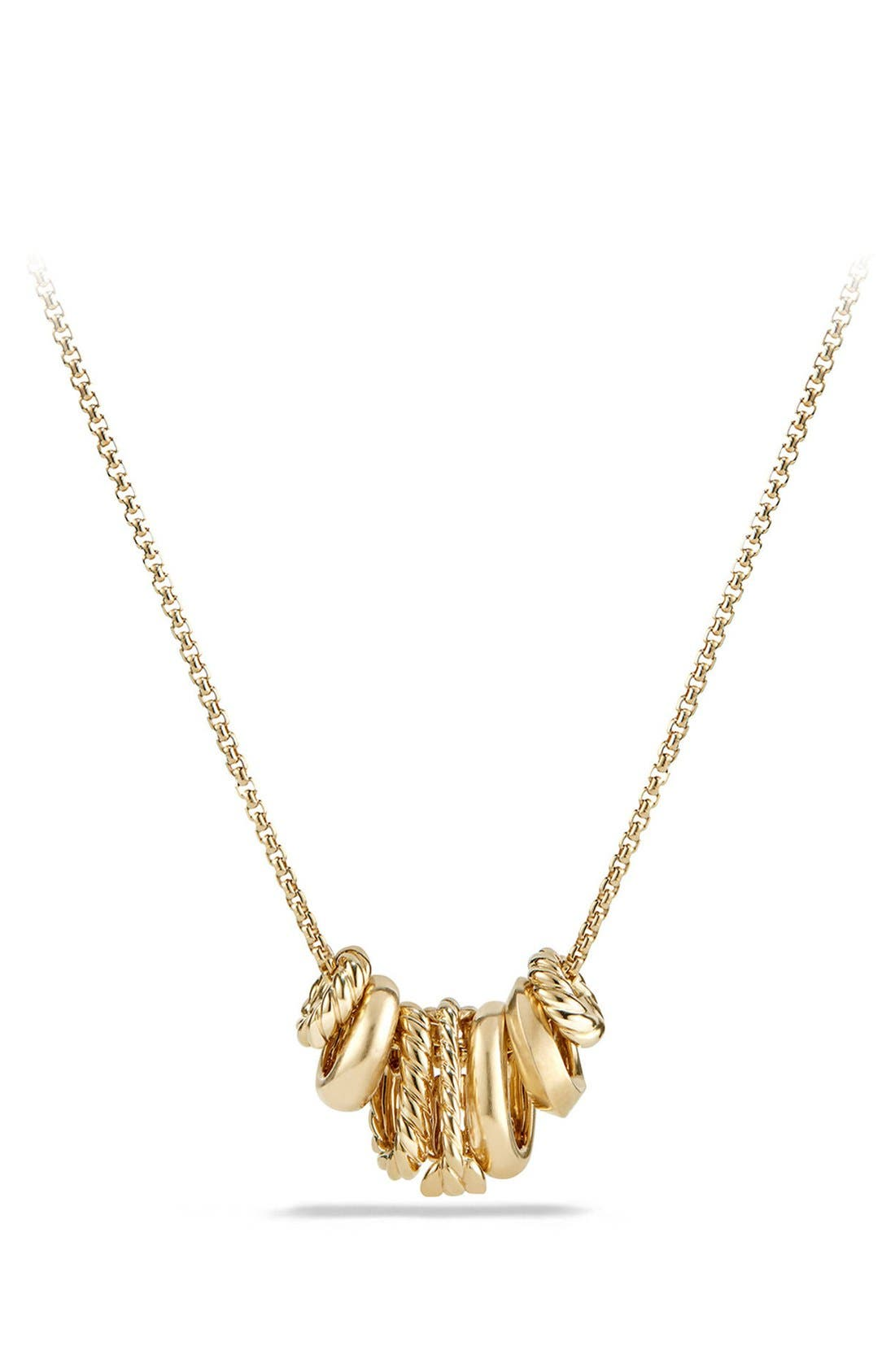 'Stax' Pendant Necklace with Diamonds in 18K Gold,                             Alternate thumbnail 3, color,                             Yellow Gold
