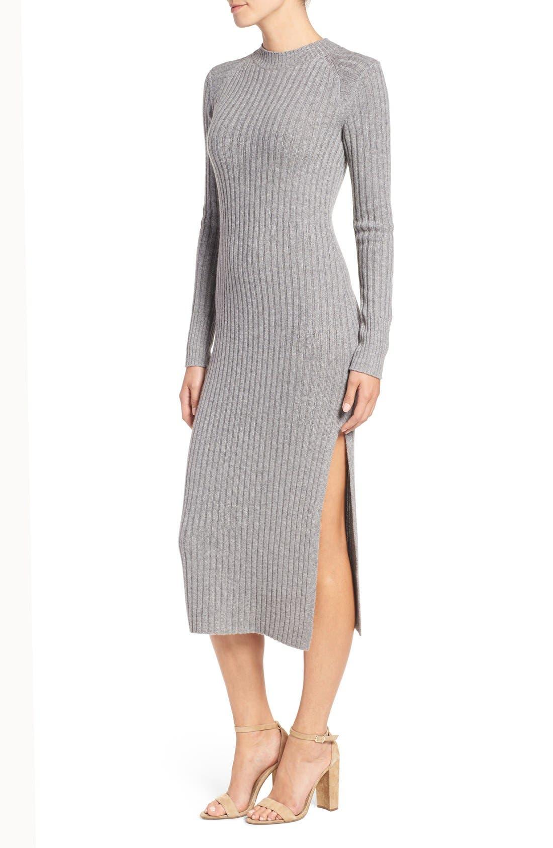 Reign Merino Wool & Cashmere Sweater Midi Dress,                             Alternate thumbnail 3, color,                             Medium Heather Grey