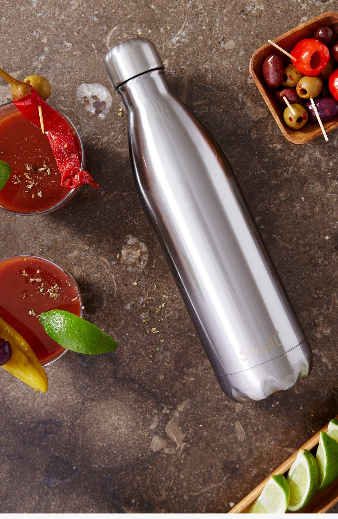 'Silver Lining' Stainless Steel Water Bottle,                             Alternate thumbnail 6, color,                             Silver