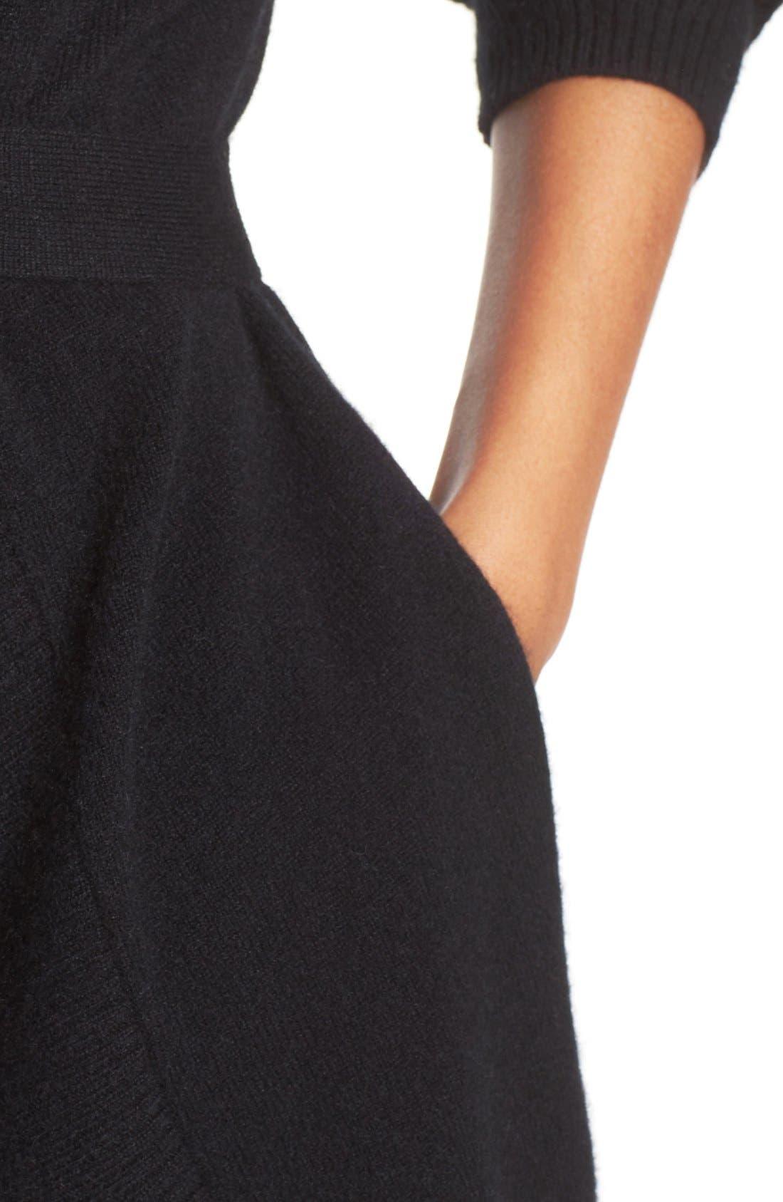 UGG 'Cheyenne' Cashmere Robe,                             Alternate thumbnail 4, color,                             Black