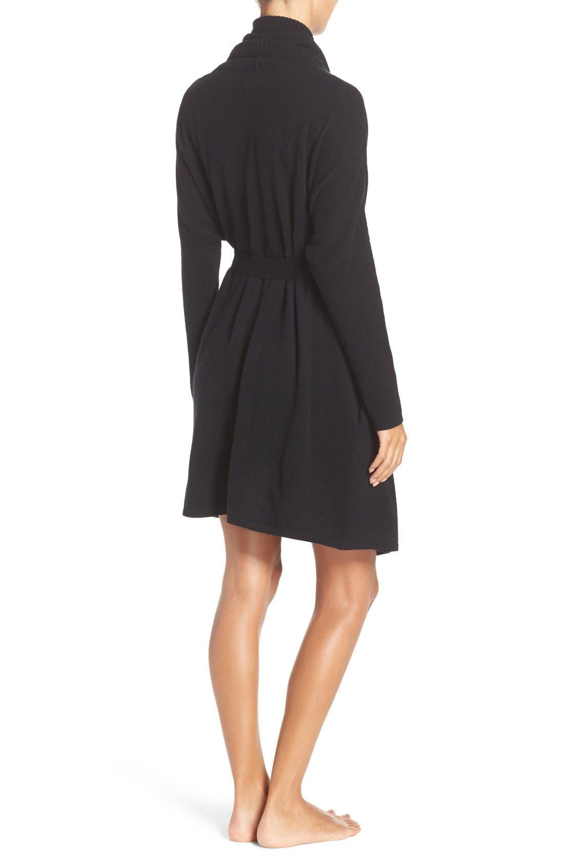 UGG 'Cheyenne' Cashmere Robe,                             Alternate thumbnail 2, color,                             Black