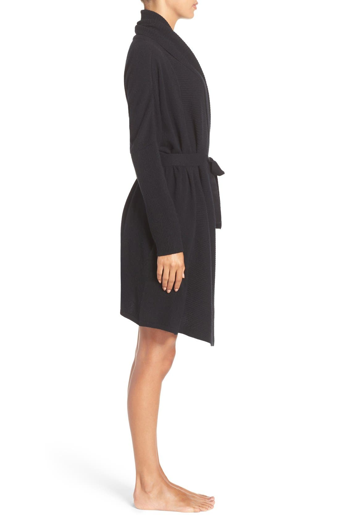 UGG 'Cheyenne' Cashmere Robe,                             Alternate thumbnail 3, color,                             Black