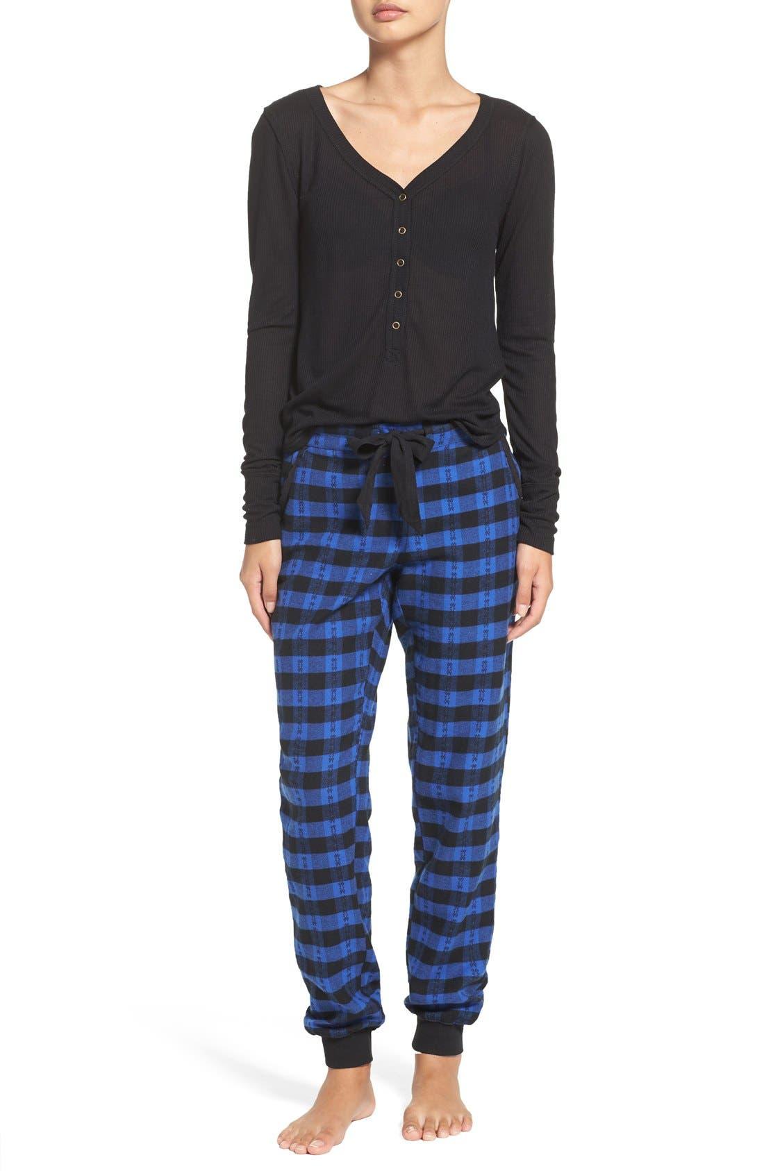Alternate Image 6  - Make + Model Plaid Flannel Lounge Pants