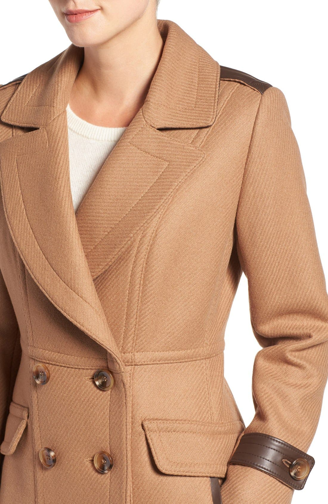 'Chloe' Wool Blend Peacoat,                             Alternate thumbnail 4, color,                             Camel