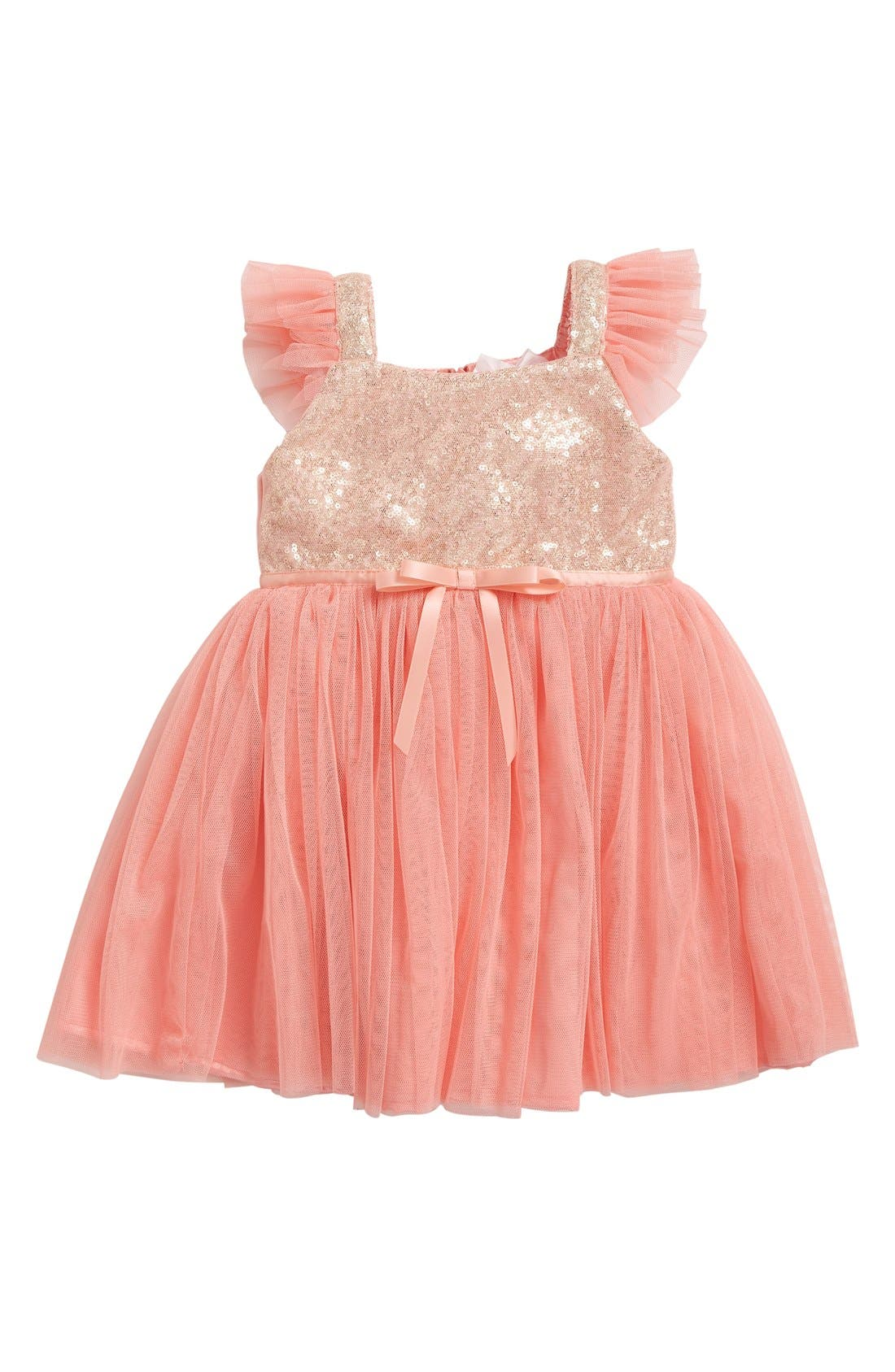 Main Image - Popatu Sequin Bodice Tulle Dress (Baby Girls)